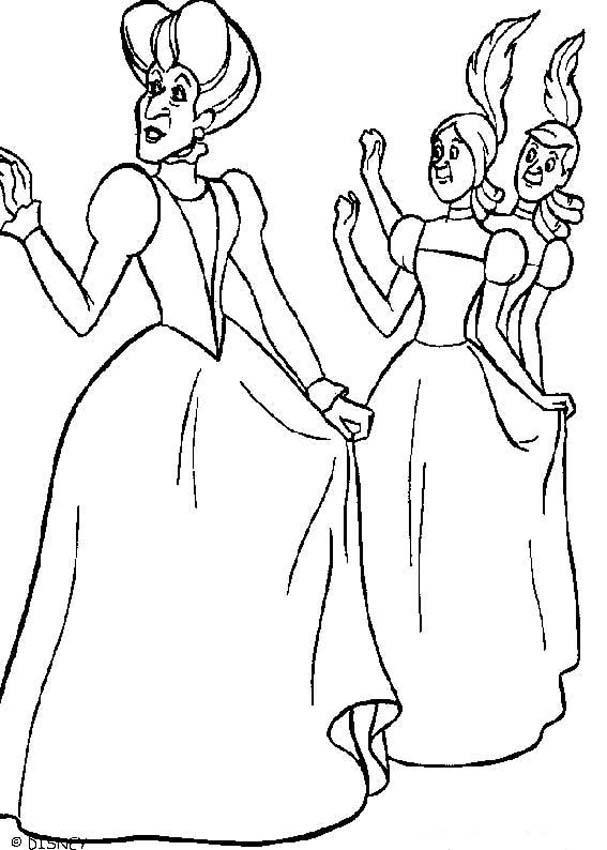 Disegni di cenerentola da stampare e colorare for Evil stepmother coloring pages