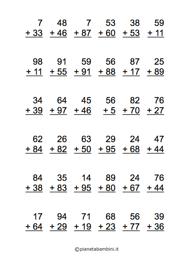 Eccezionale Esercizi di Matematica: Addizioni per Scuola Elementare da  TX44