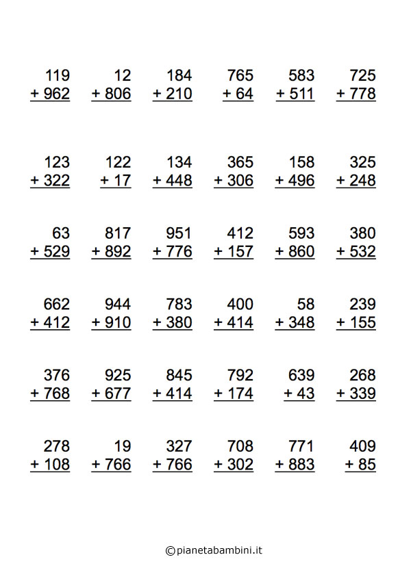 Estremamente Esercizi di Matematica: Addizioni per Scuola Elementare da  TZ04