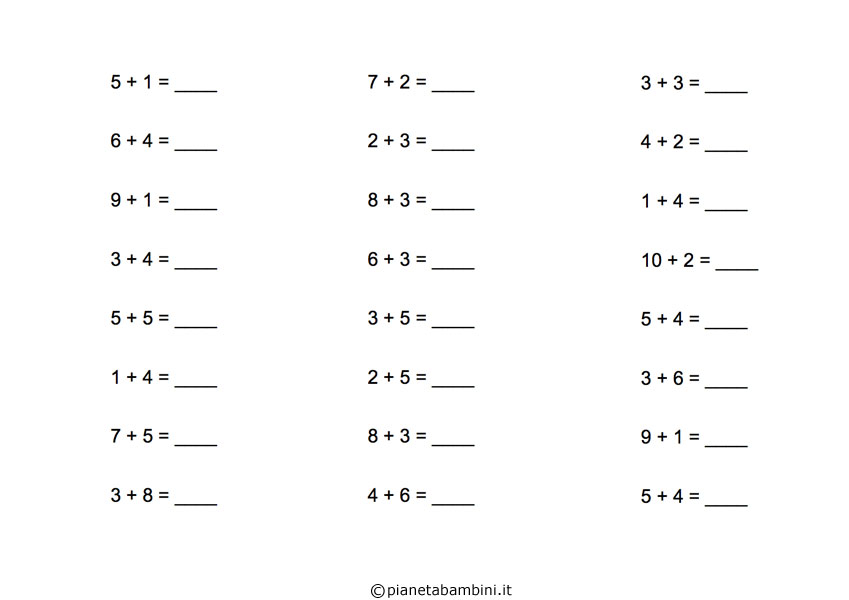 Esercizi Di Matematica Addizioni Per Scuola Elementare Da Stampare