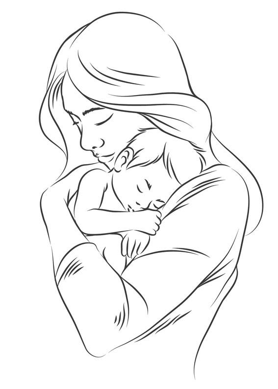 Illustrazione Festa della Mamma da colorare 03