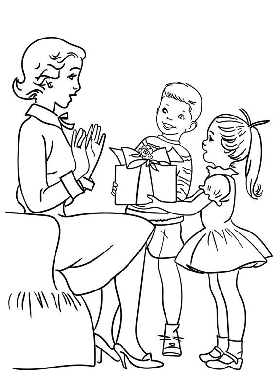 Illustrazione Festa della Mamma da colorare 05