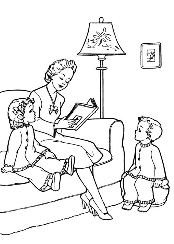 Illustrazione Festa della Mamma da colorare 08