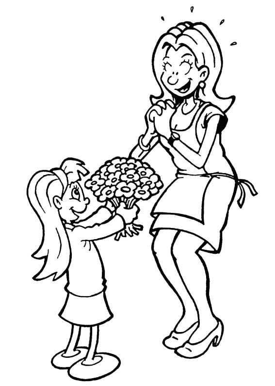 Illustrazione Festa della Mamma da colorare 17
