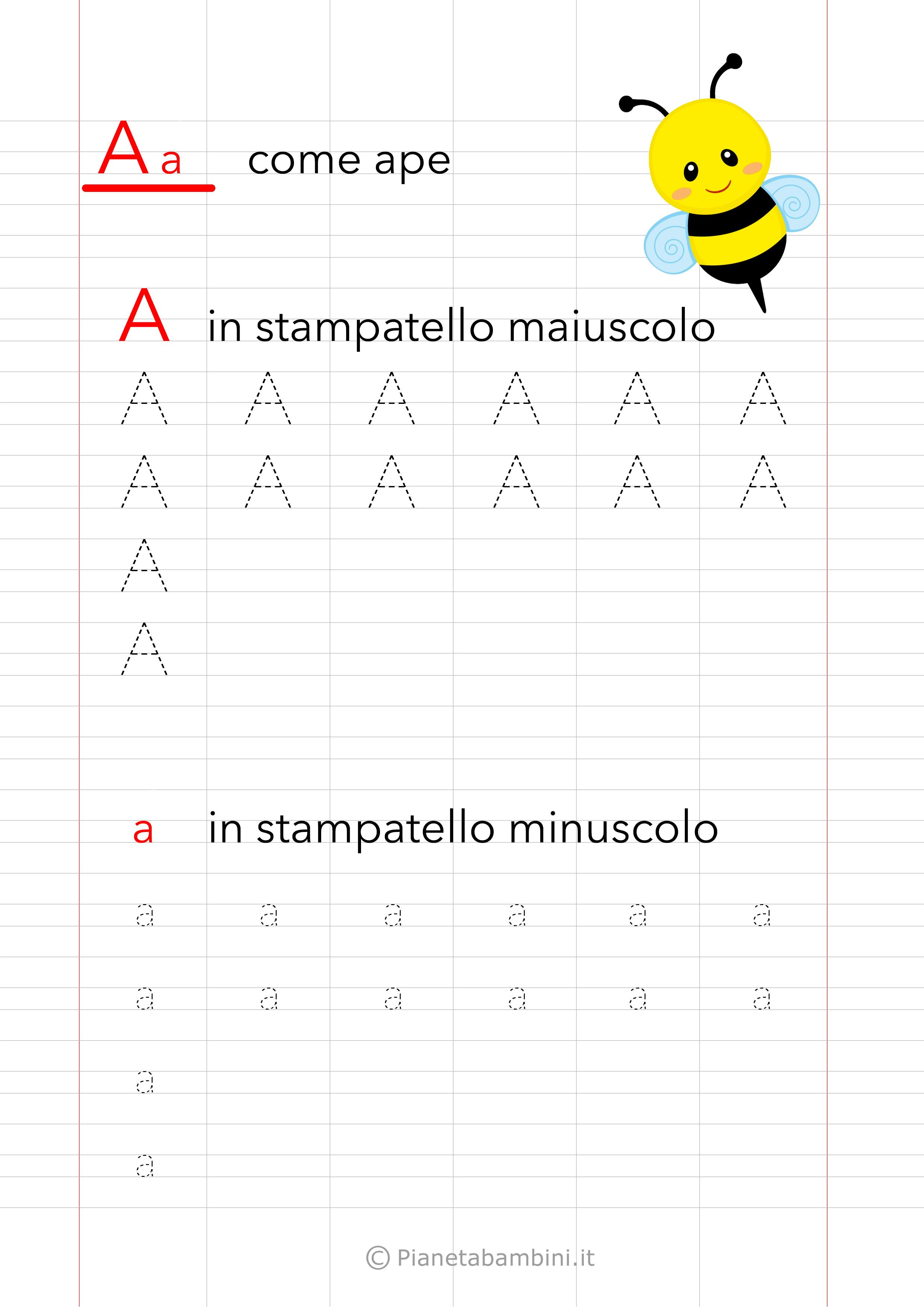 Schede Pregrafismo Vocale A Stampatello