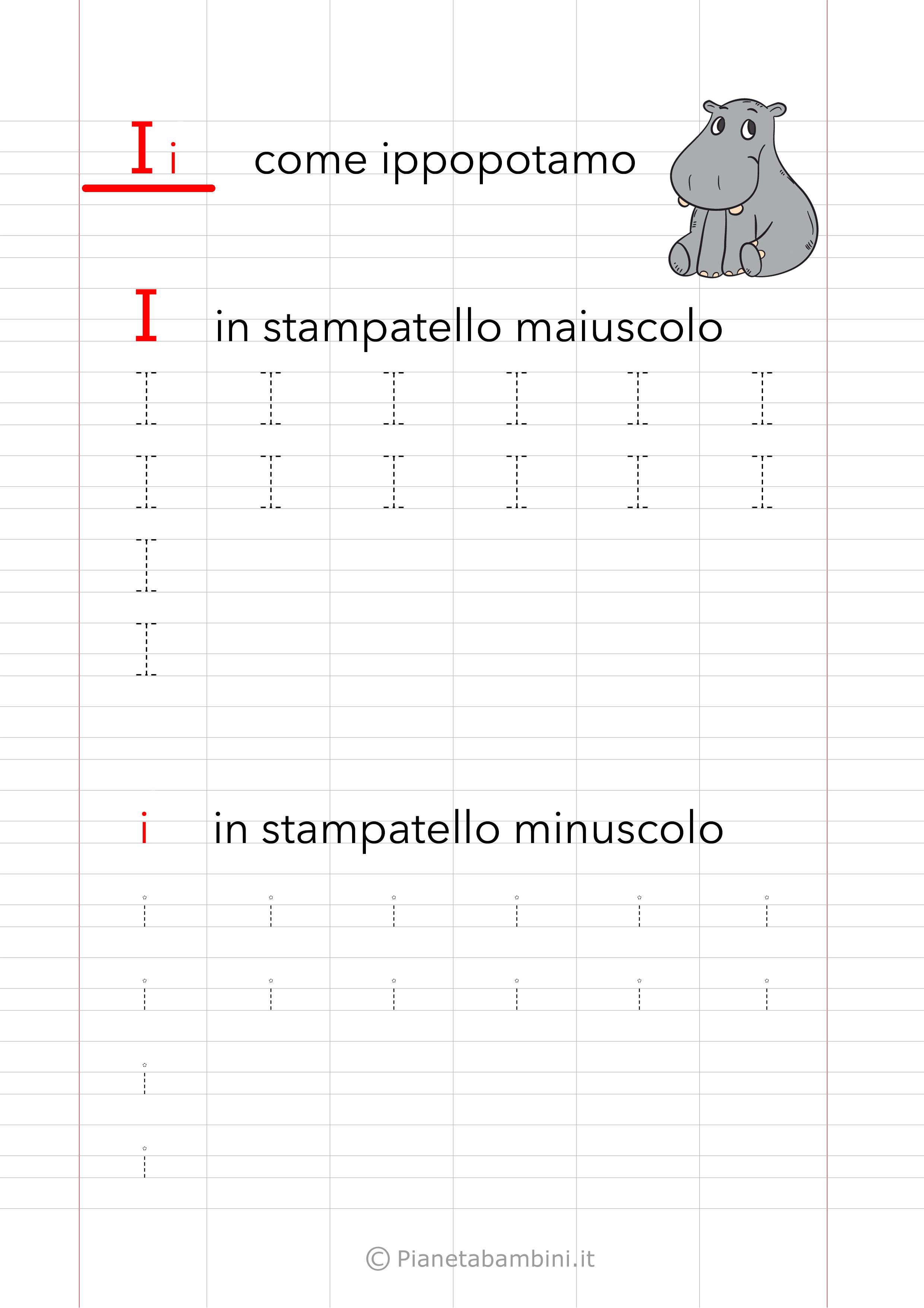Schede Pregrafismo Vocale I Stampatello