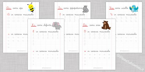 Schede di pregrafismo sulle vocali da stampare per bambini