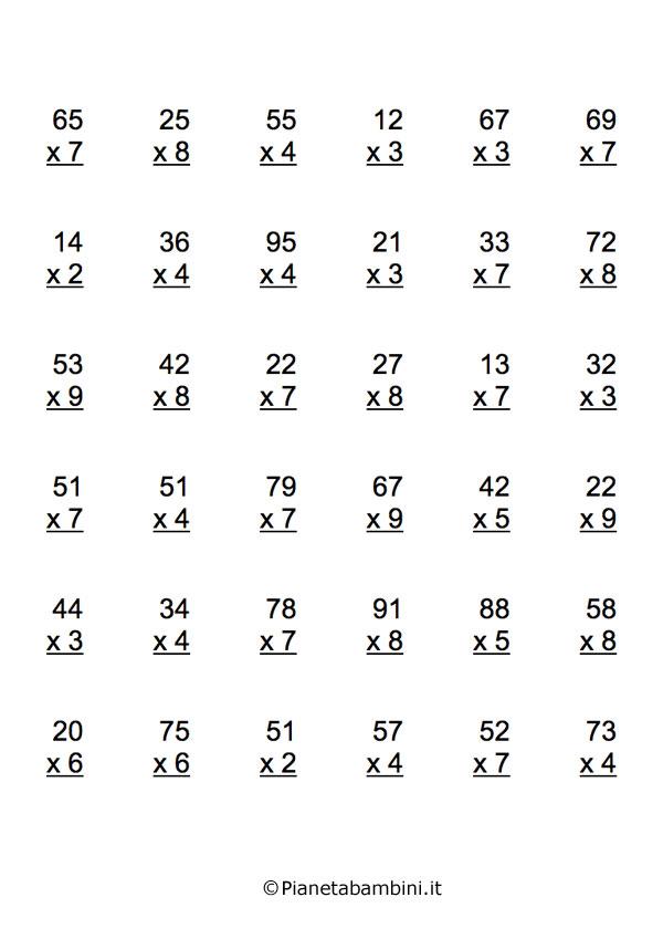 Esercizi sulle tabelline tante moltiplicazioni da for Planimetrie gratuite della casa del campione