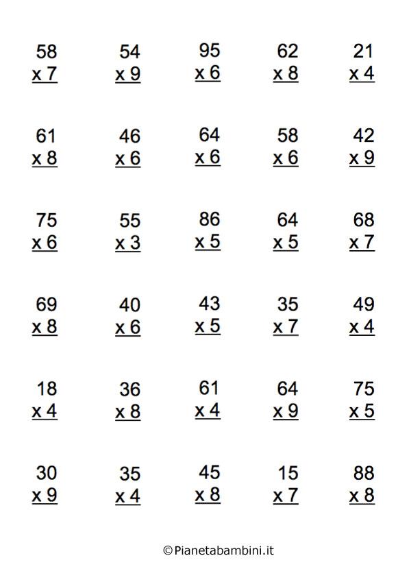 Popolare Esercizi sulle Tabelline: Tante Moltiplicazioni da Stampare  JM89