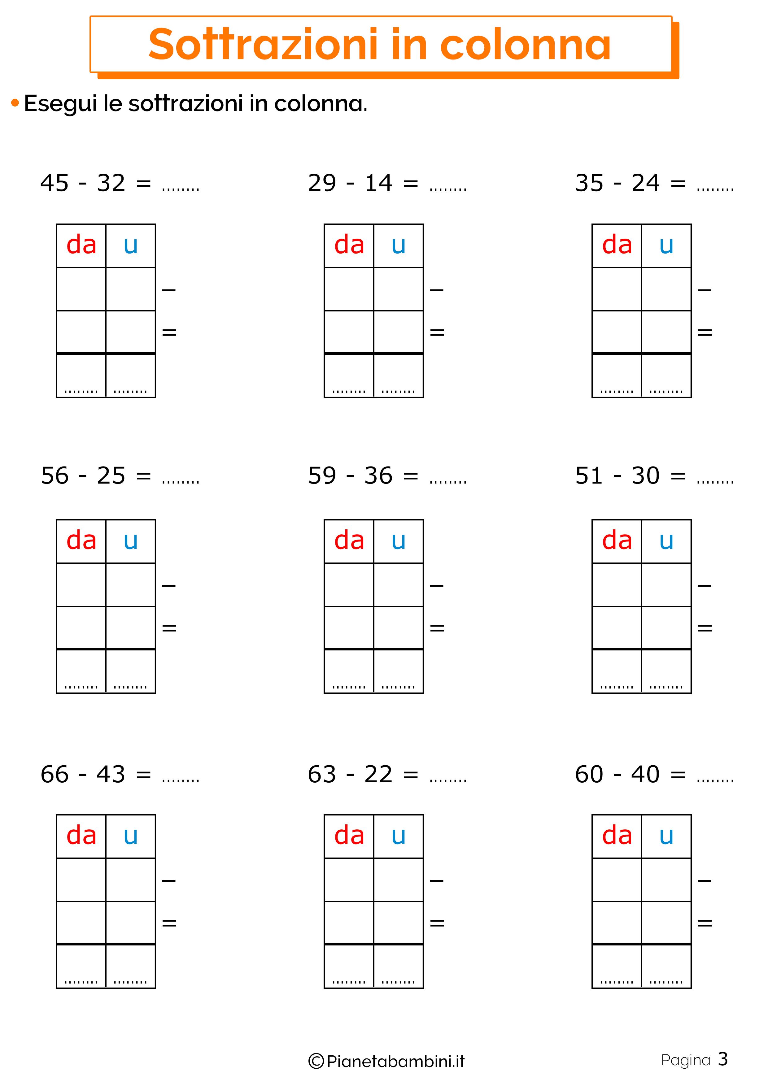 Schede didattiche sulle sottrazioni in colonna 3