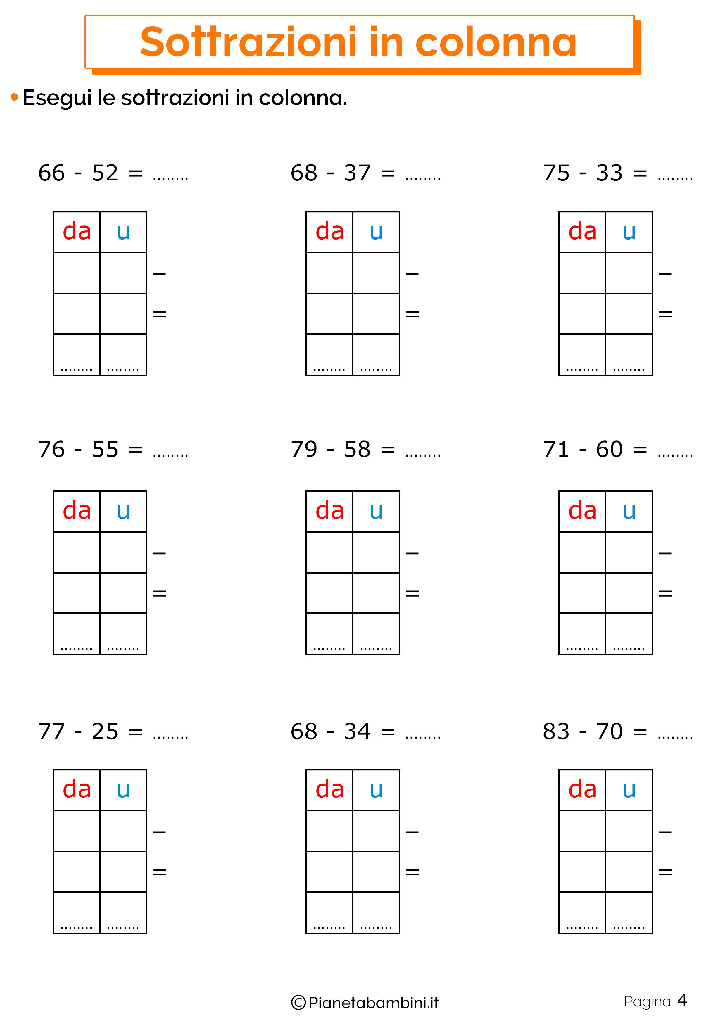 Schede didattiche sulle sottrazioni in colonna 4