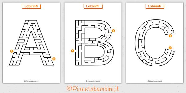 Labirinti sulle lettere dell'alfabeto da stampare