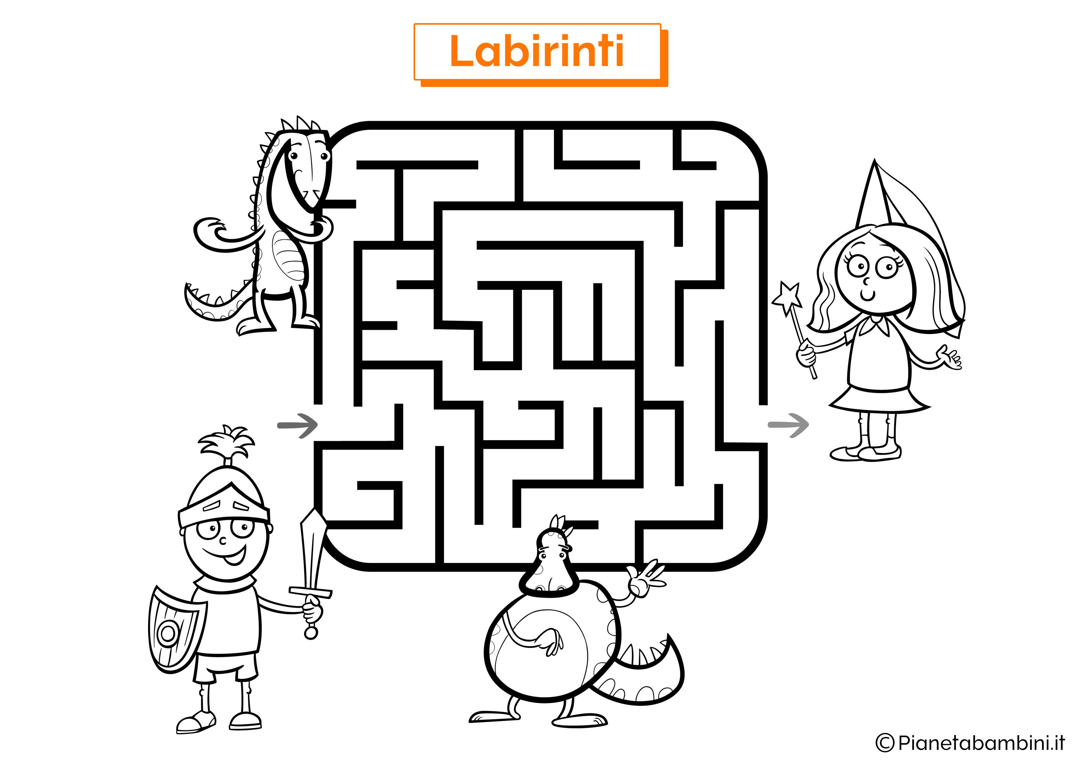 Labirinto con cavaliere, drago e fata da stampare
