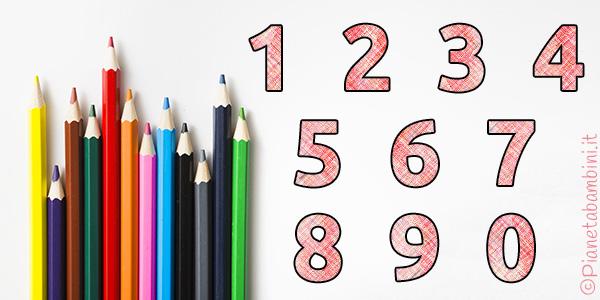 Numeri da colorare e ritagliare per bambini
