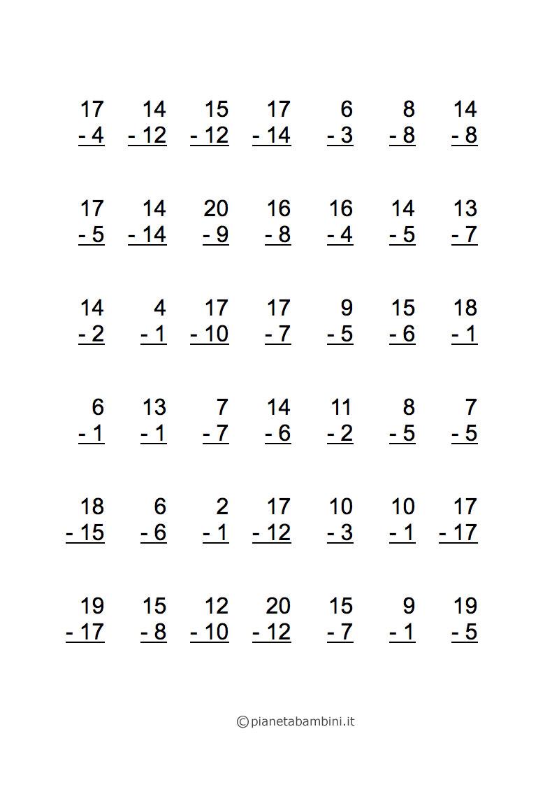 Favorito Esercizi di Matematica: Sottrazioni per Scuola Elementare da  ZJ14