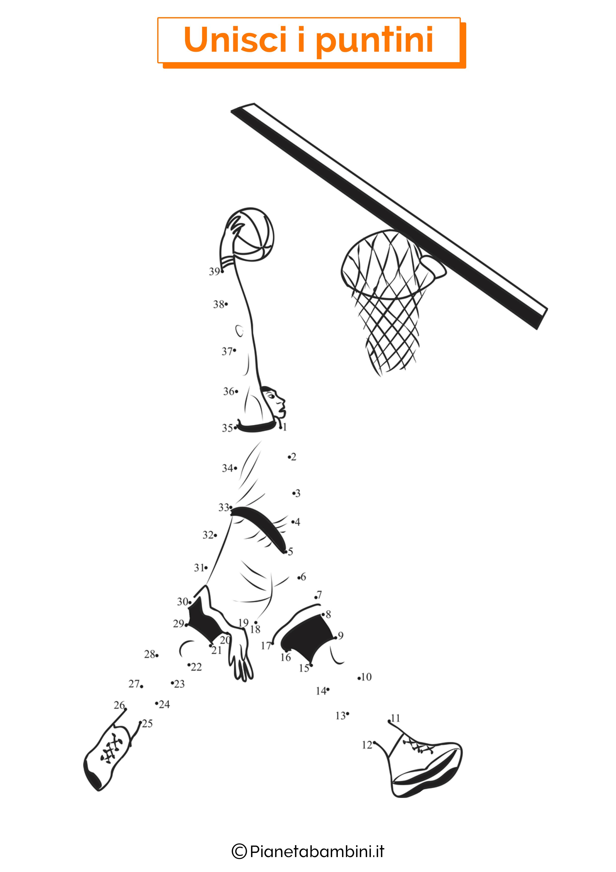 Disegno unisci i puntini basket