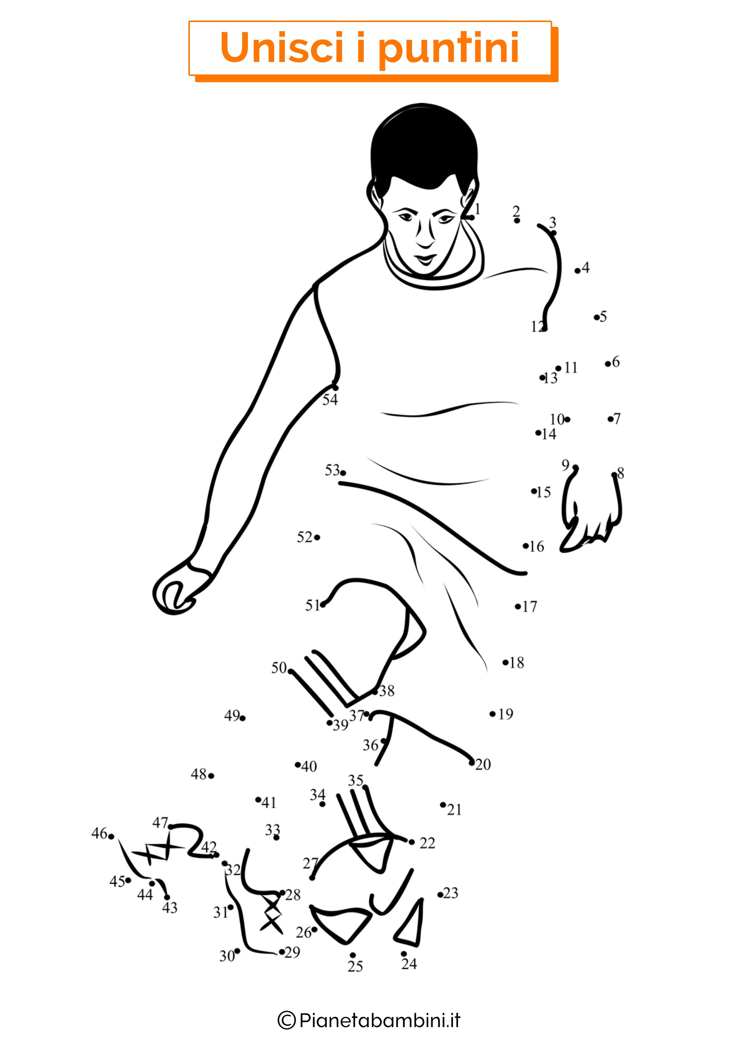 Disegno unisci i puntini calcio 3