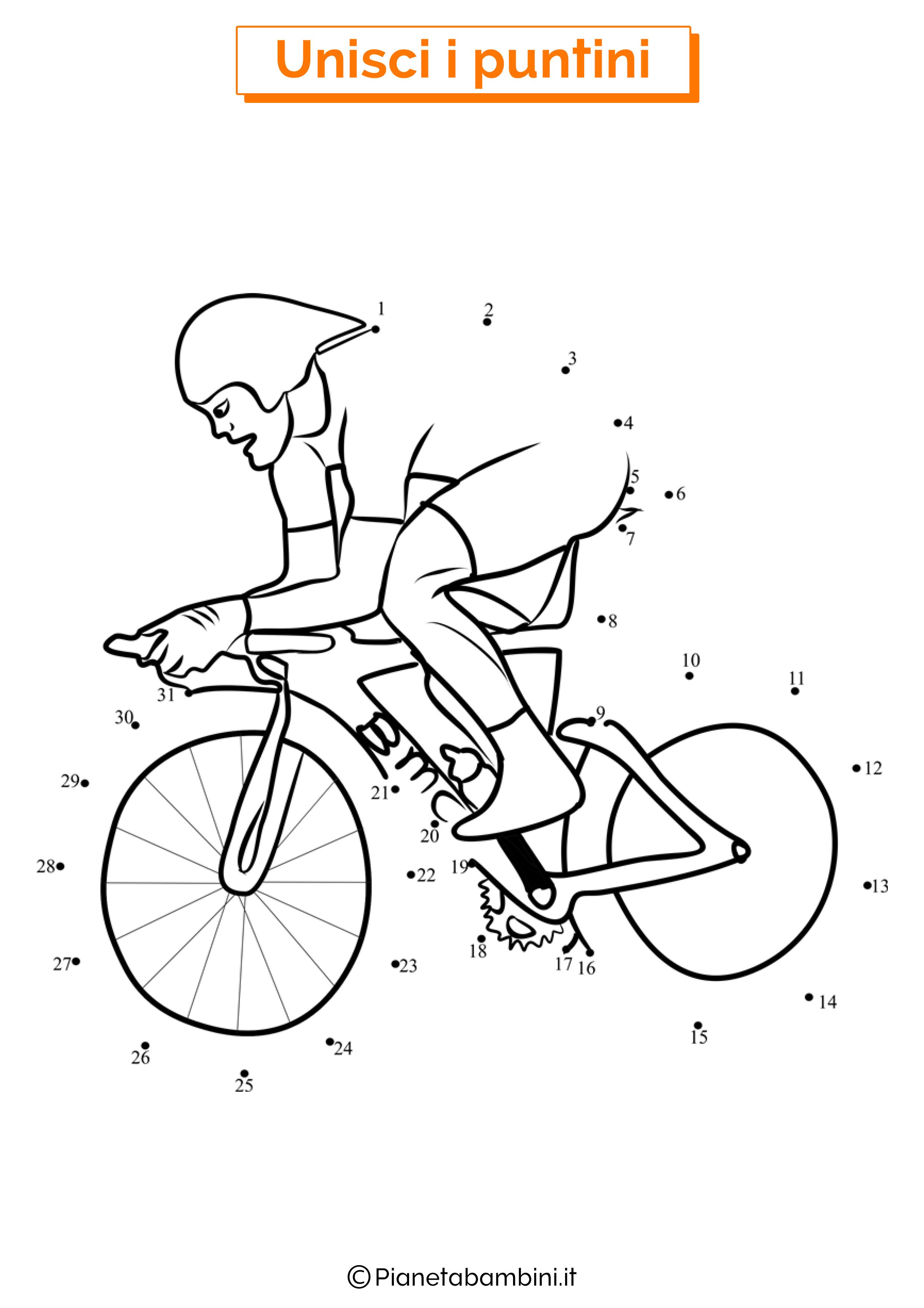 Disegno unisci i puntini ciclismo