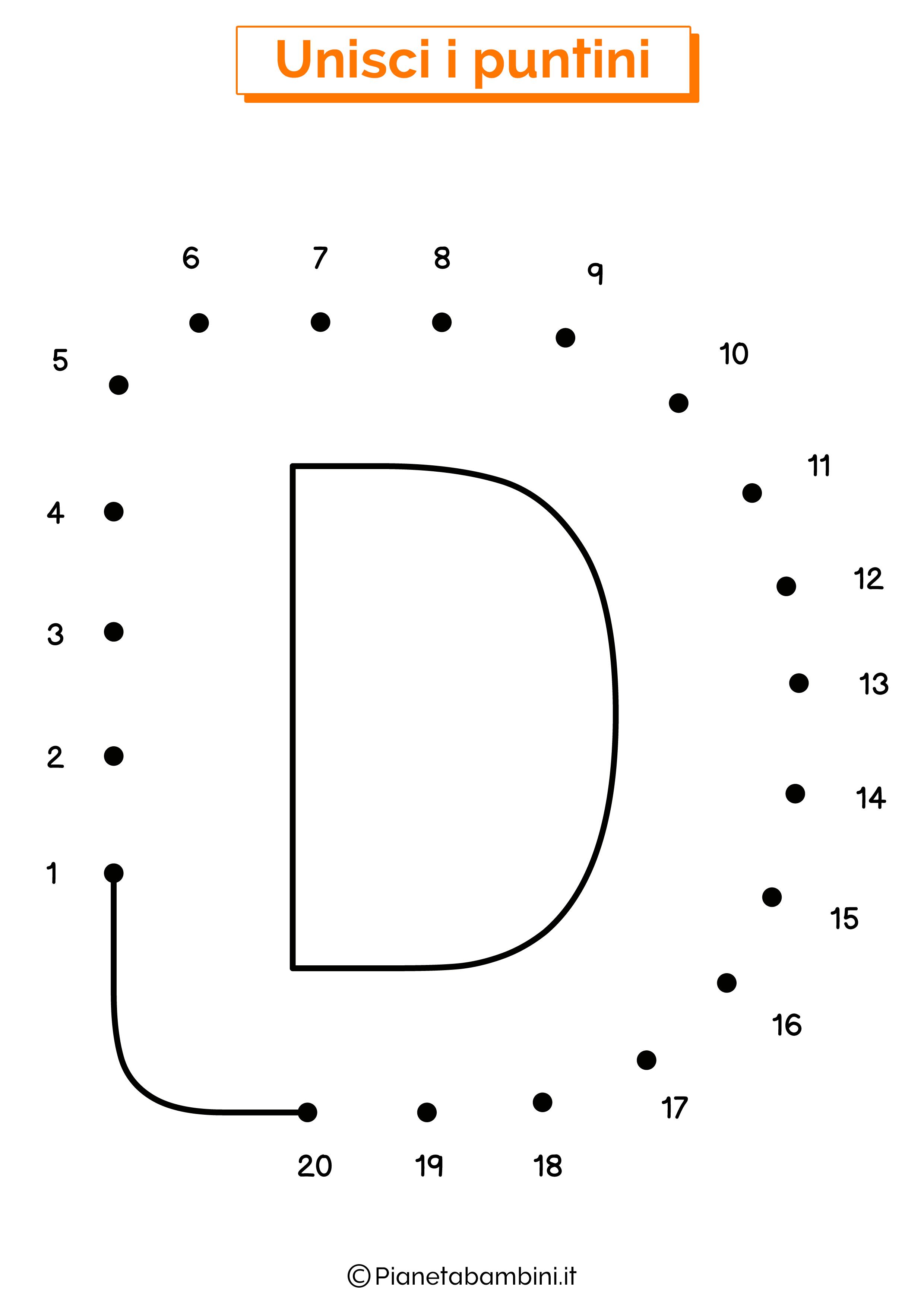 Unisci i puntini con la lettera D
