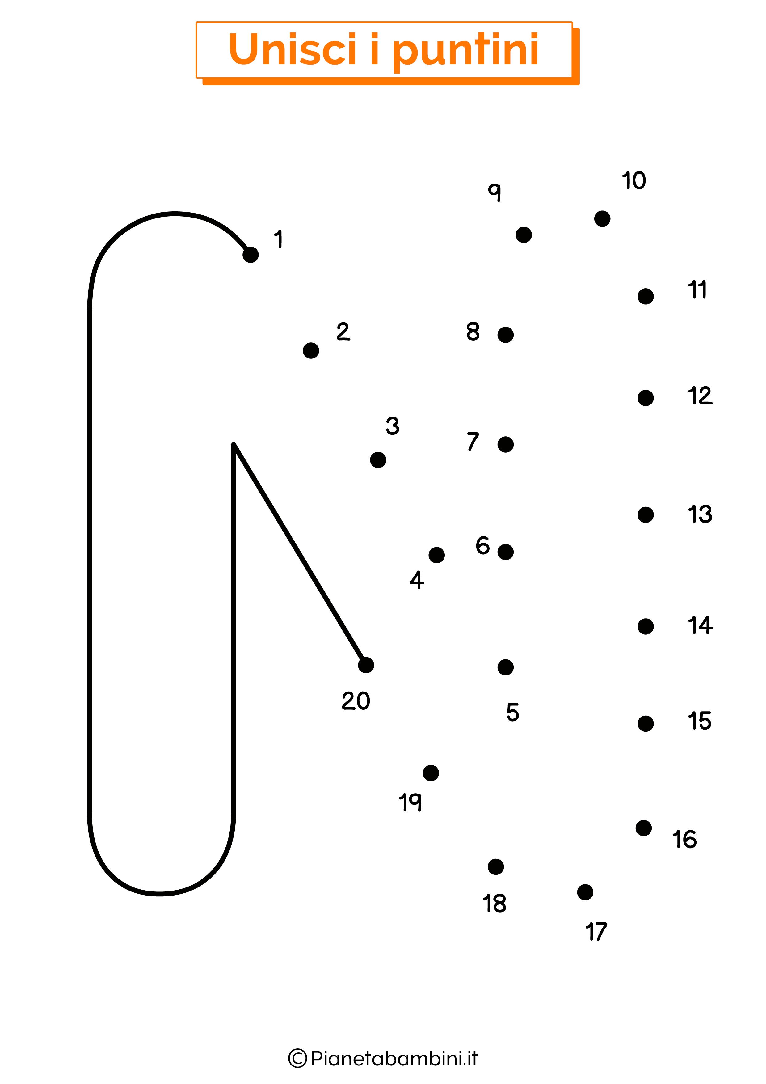 Unisci i puntini con la lettera N
