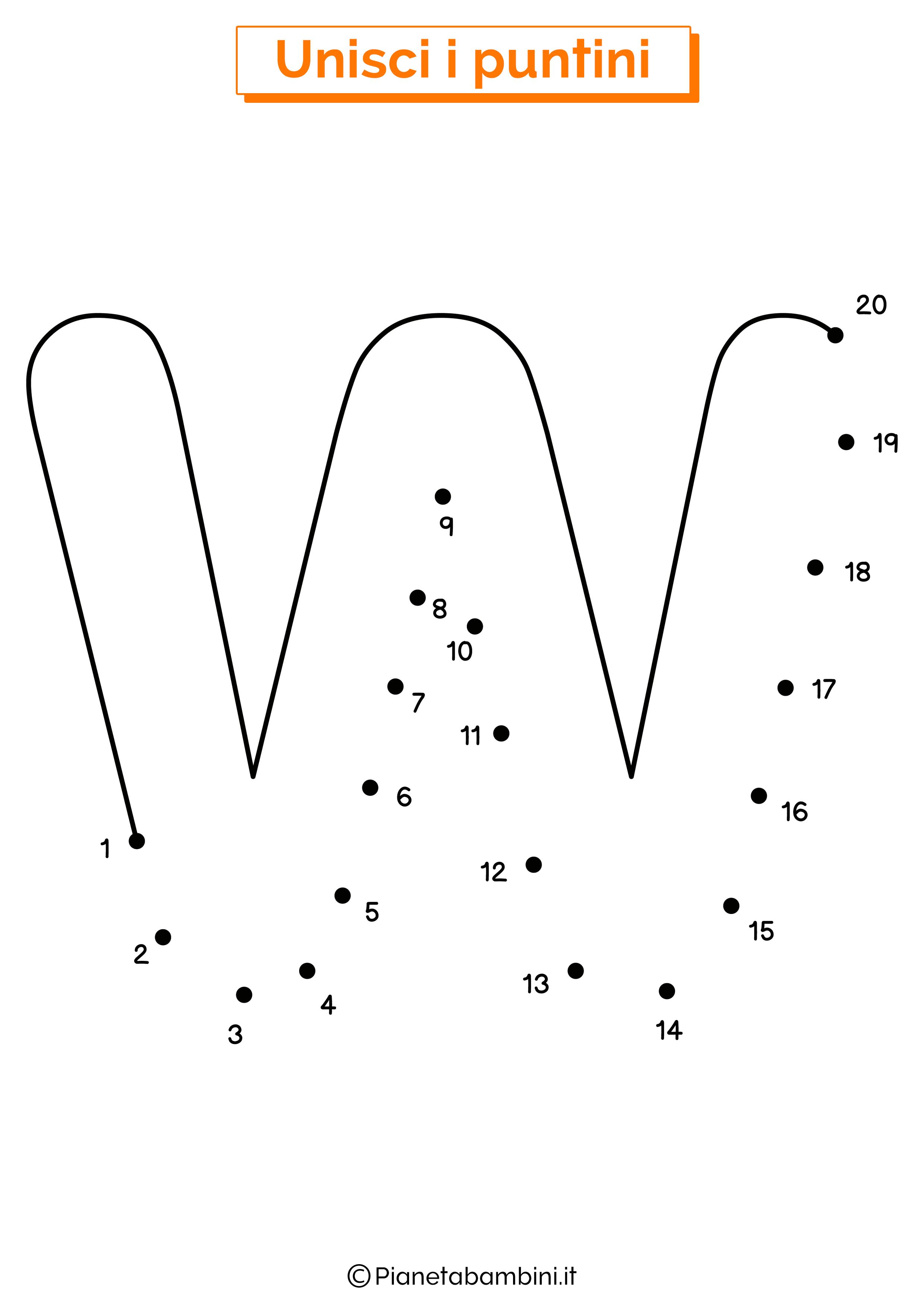 Unisci i puntini con la lettera W