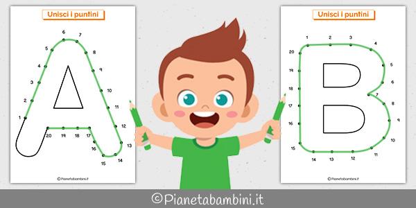 Unisci i puntini con le lettere dell'alfabeto