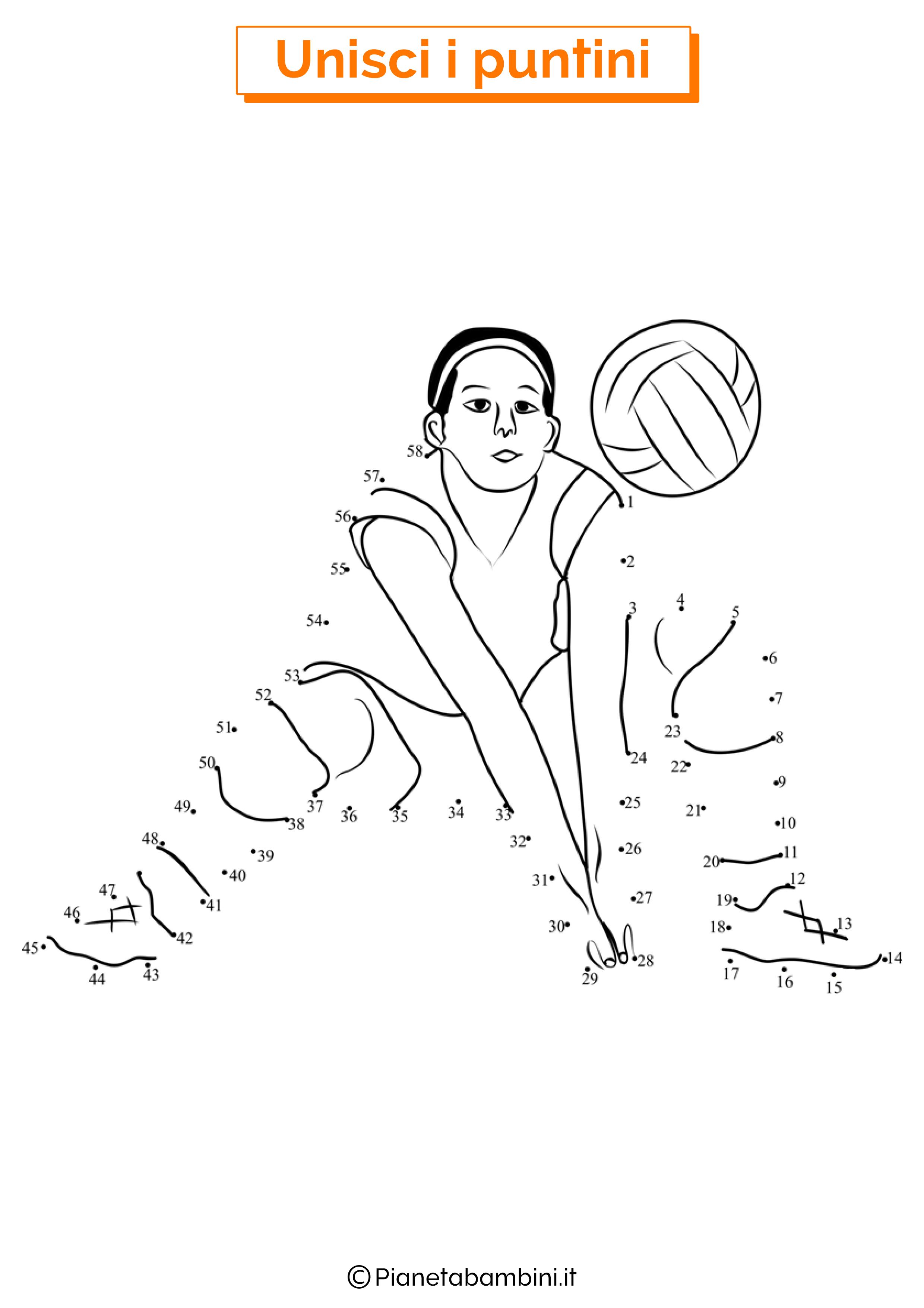 Disegno unisci i puntini pallavolo