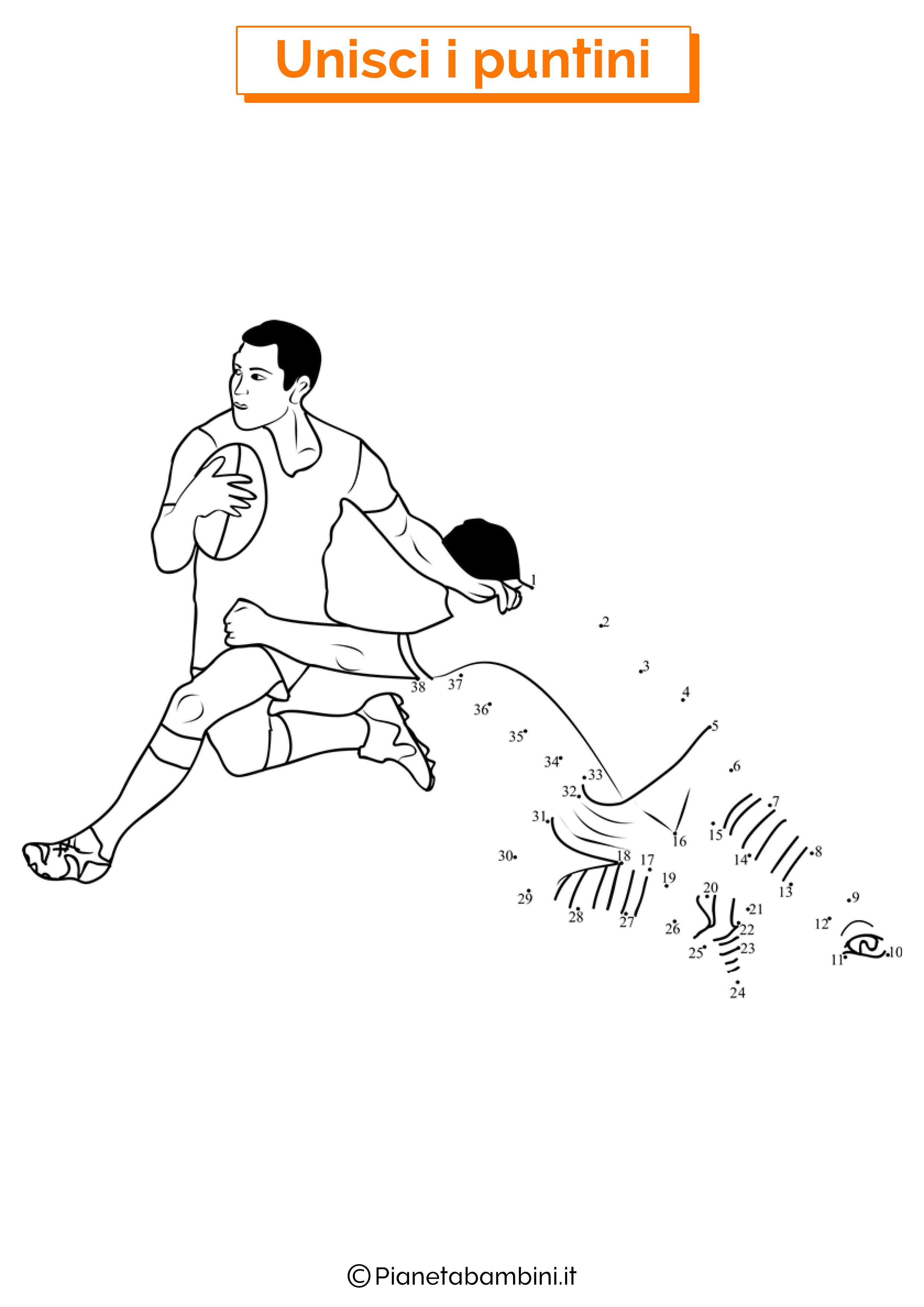 Disegno unisci i puntini rugby