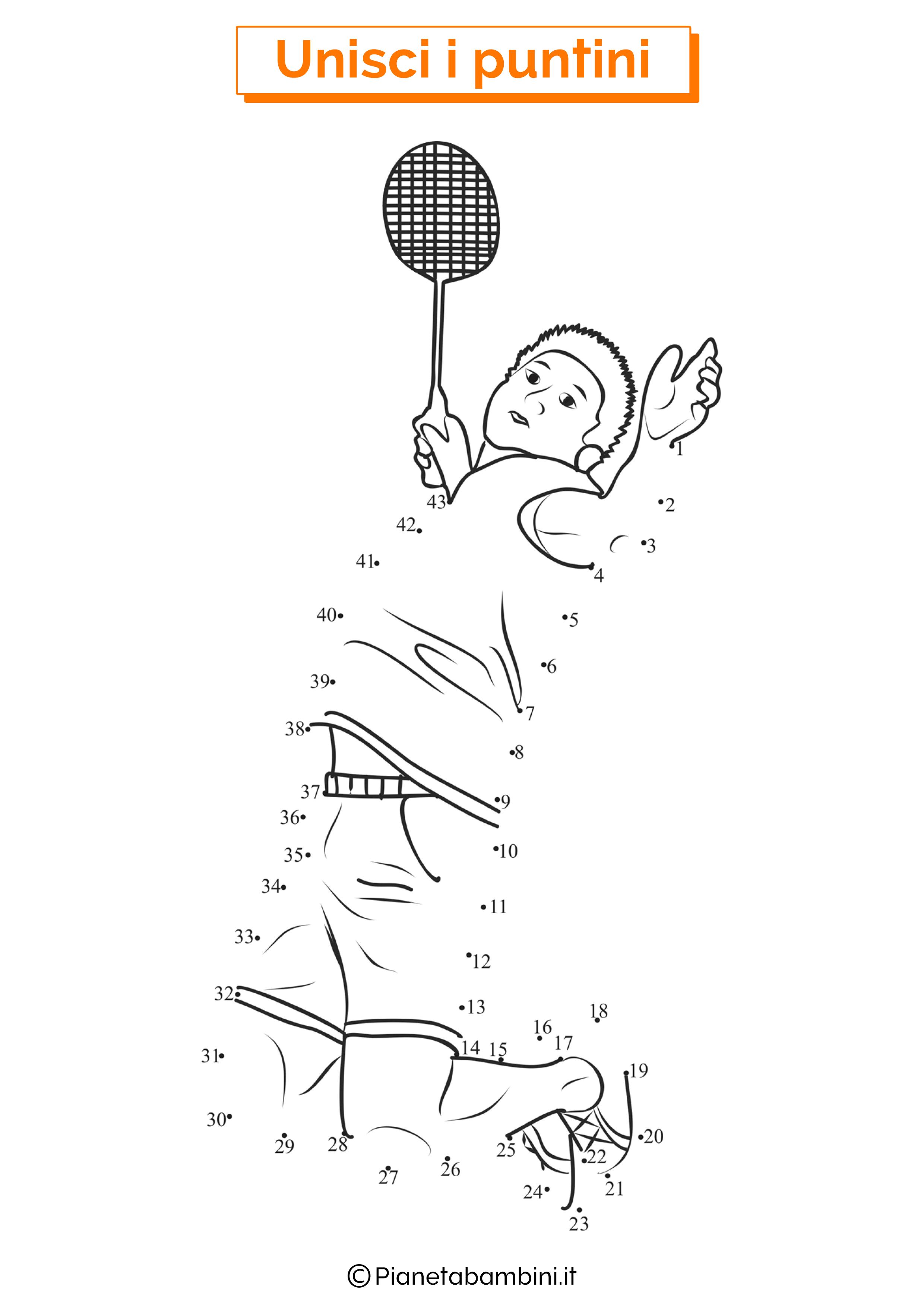 Disegno unisci i puntini tennis
