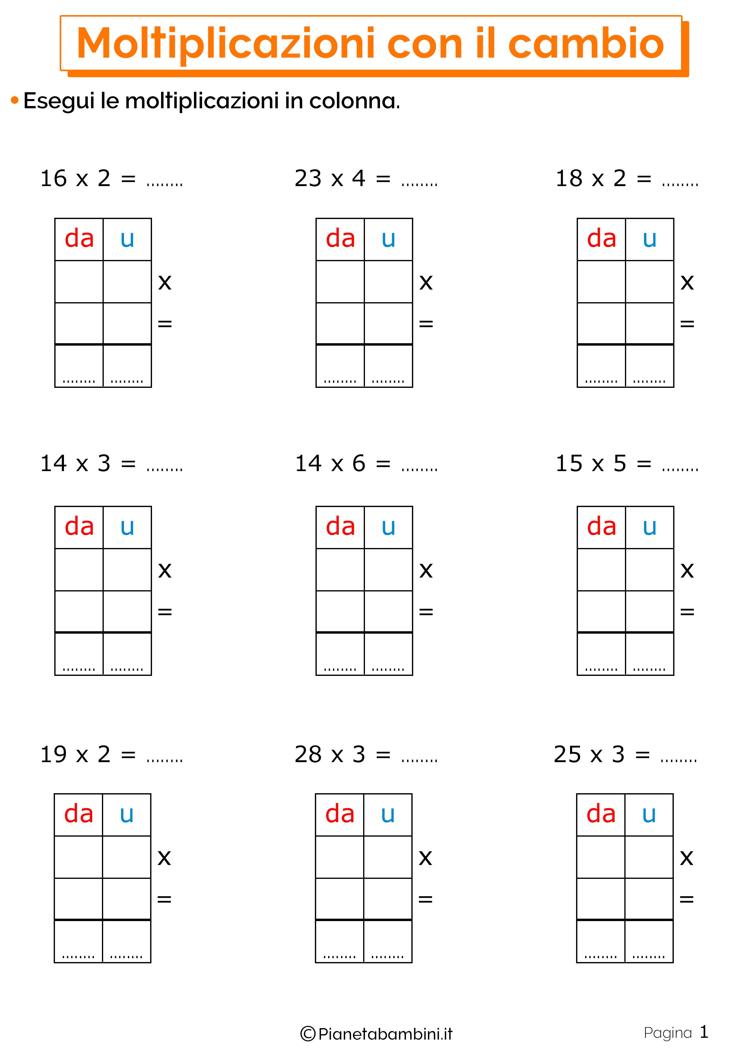 Schede didattiche sulle moltiplicazioni con il cambio 1