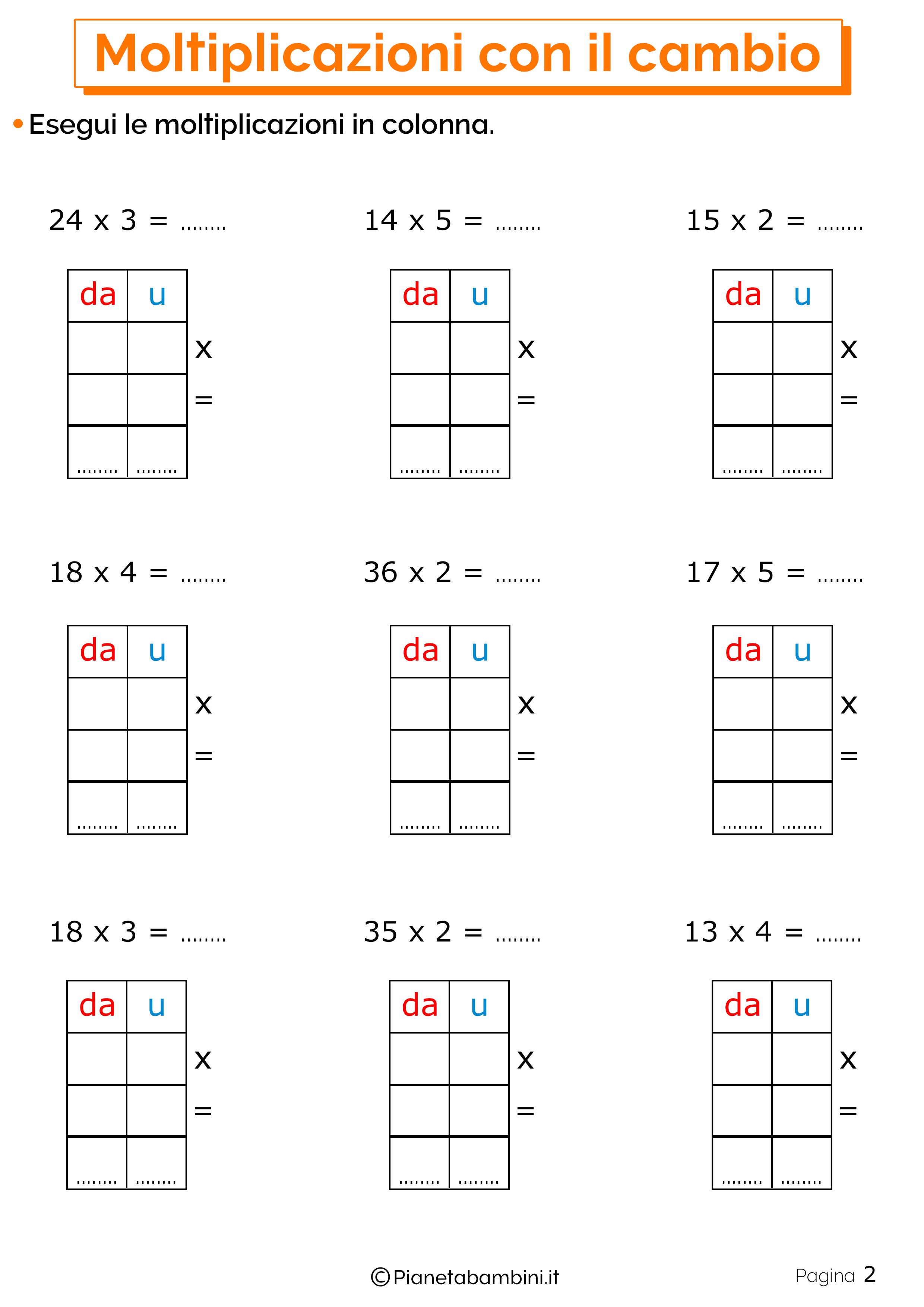 Schede didattiche sulle moltiplicazioni con il cambio 2