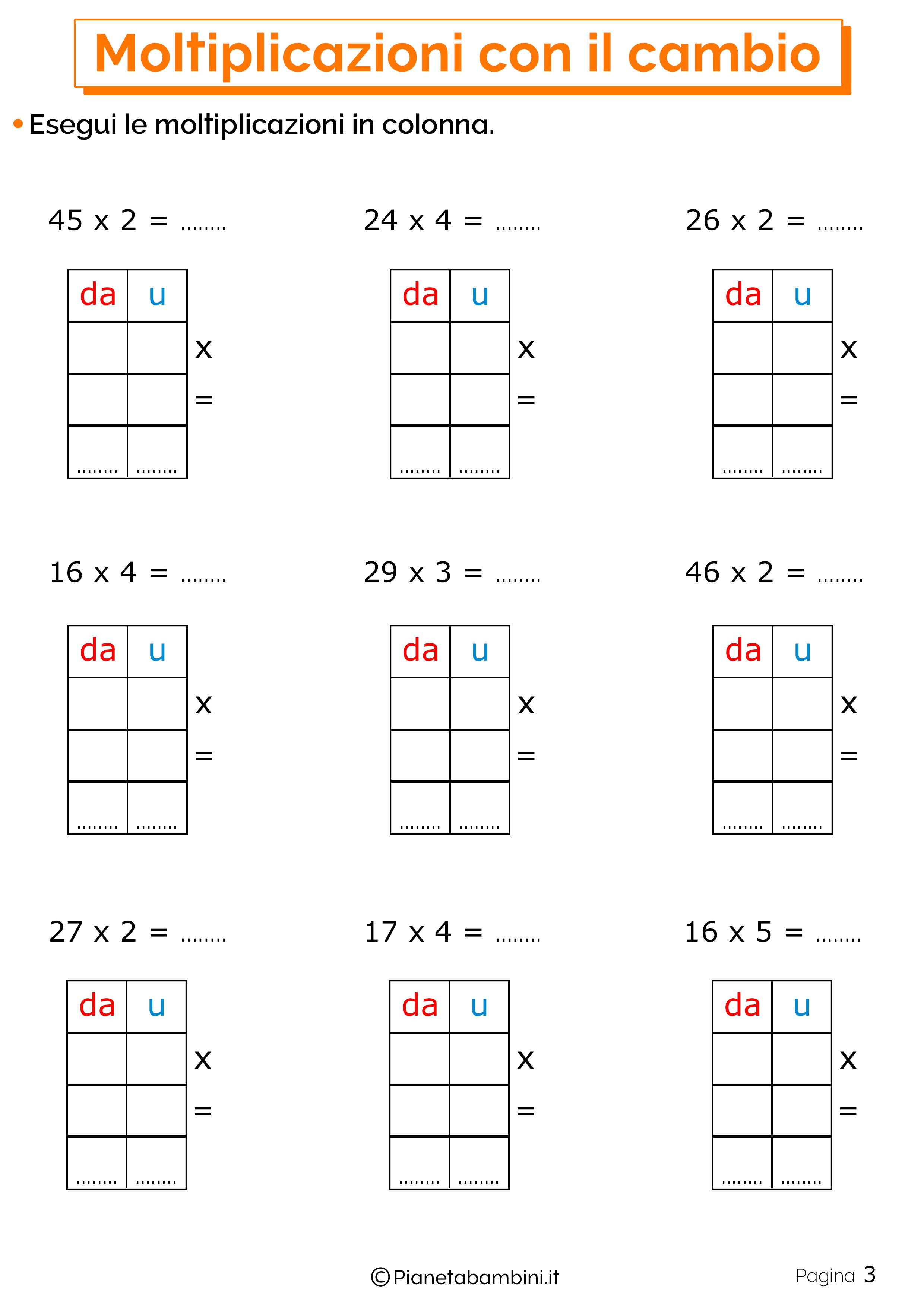 Schede didattiche sulle moltiplicazioni con il cambio 3