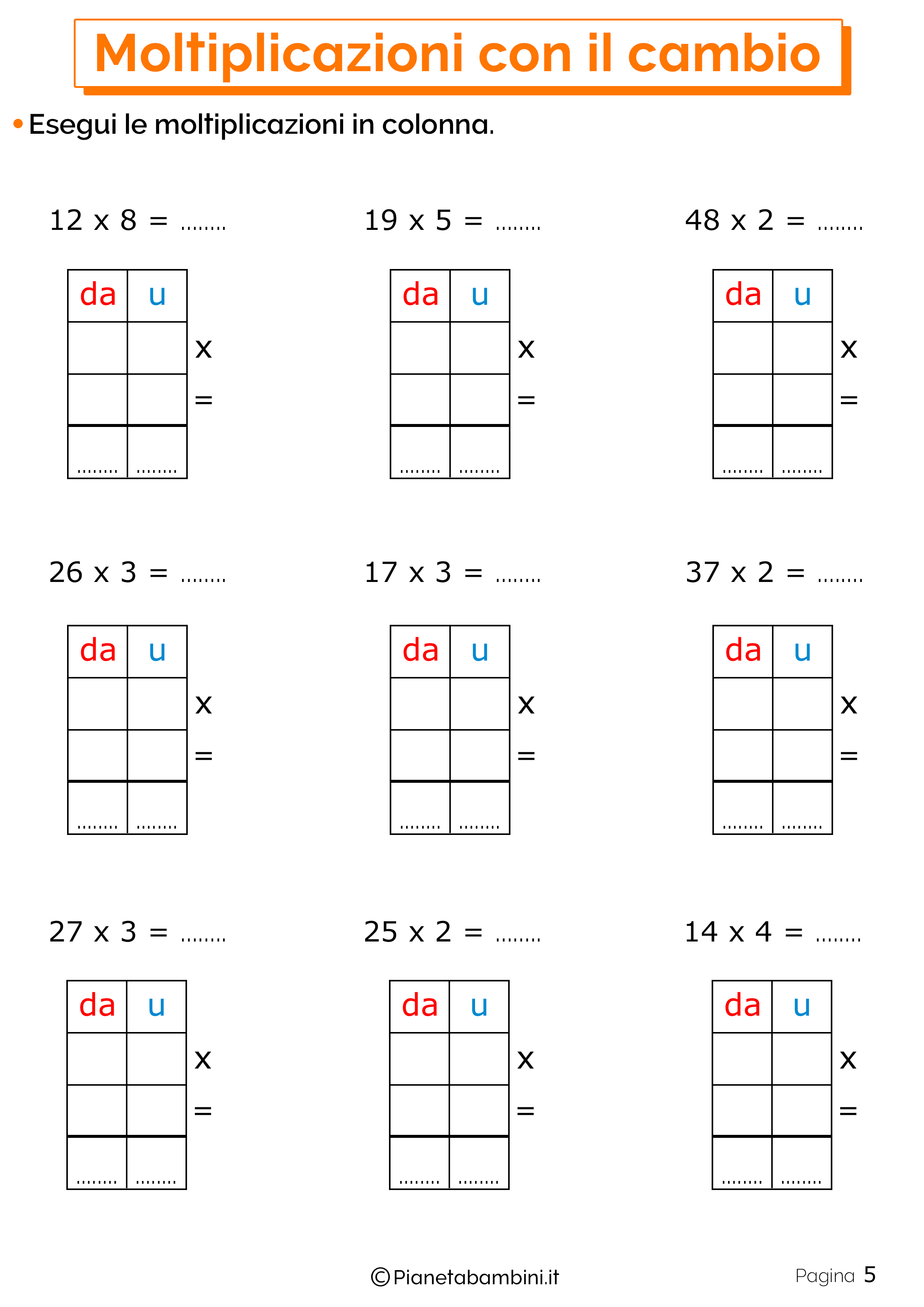 Schede didattiche sulle moltiplicazioni con il cambio 5