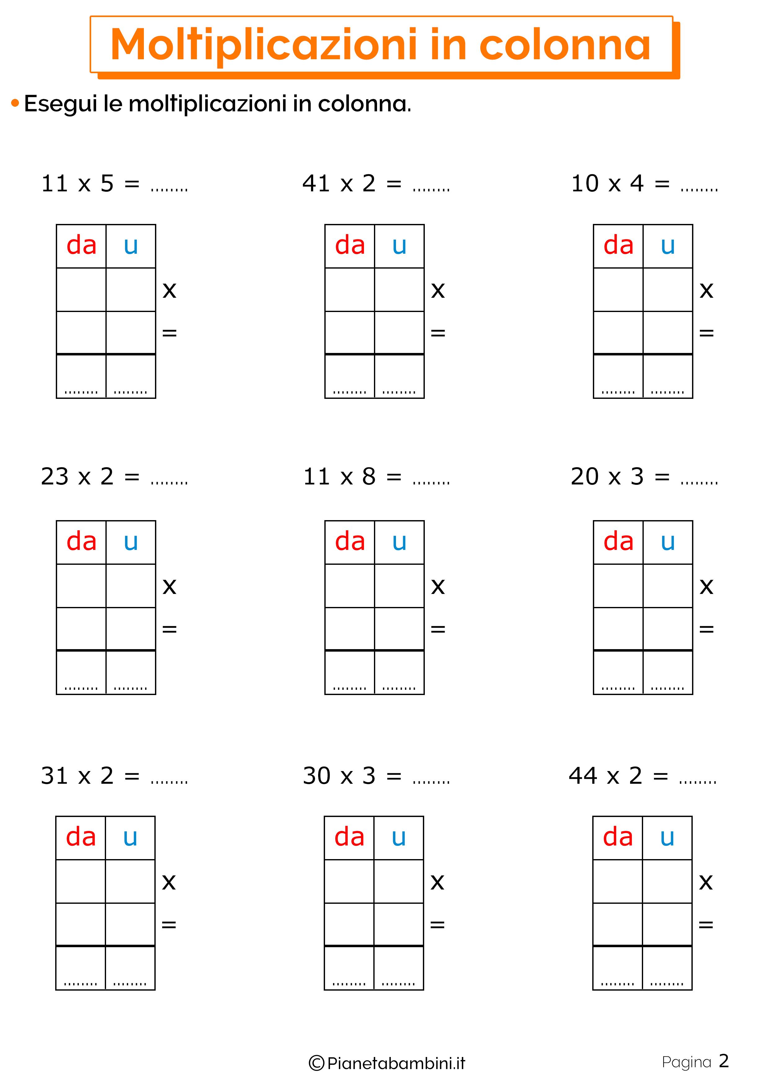 Schede didattiche sulle moltiplicazioni in colonna 2