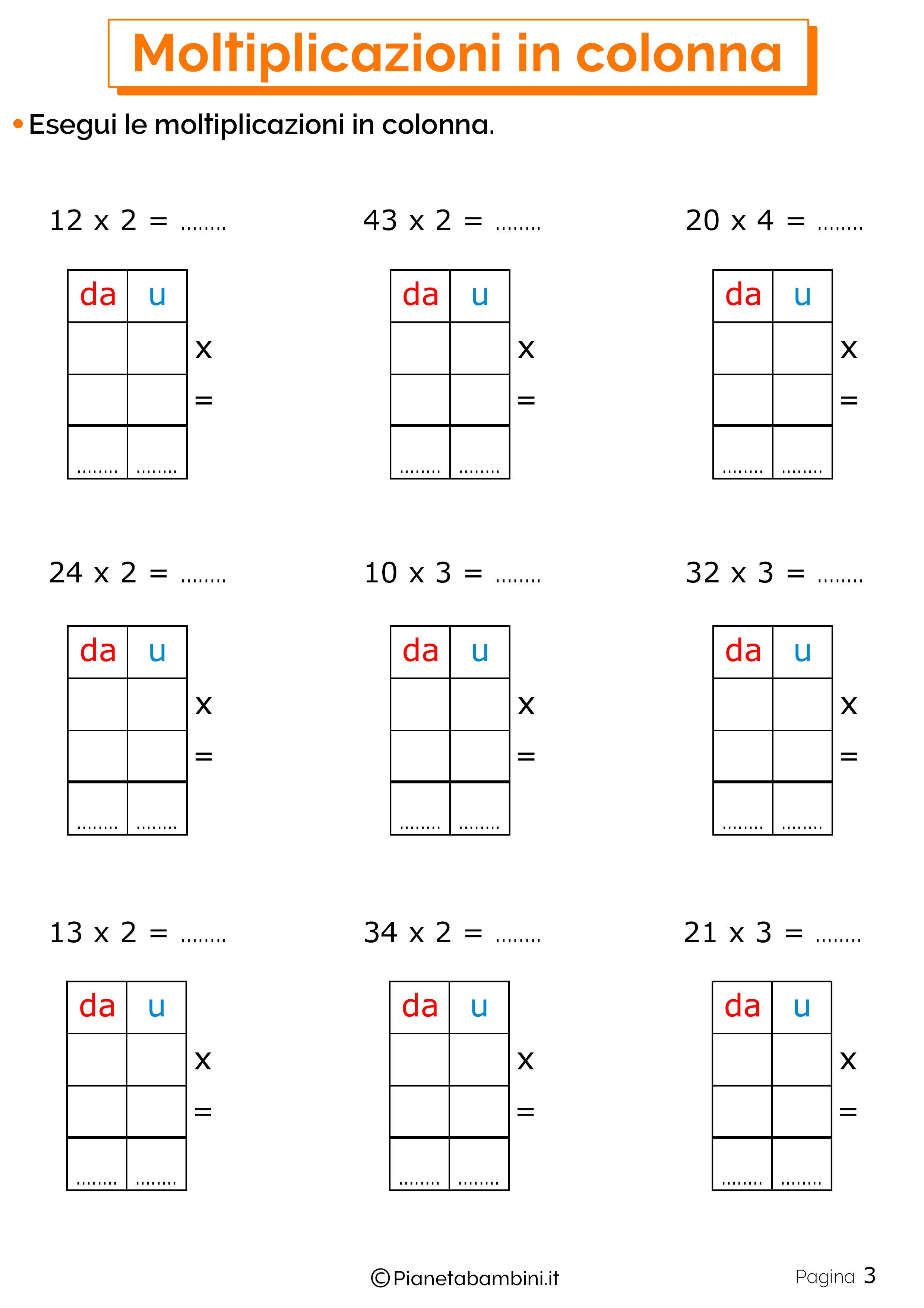 Schede didattiche sulle moltiplicazioni in colonna 3
