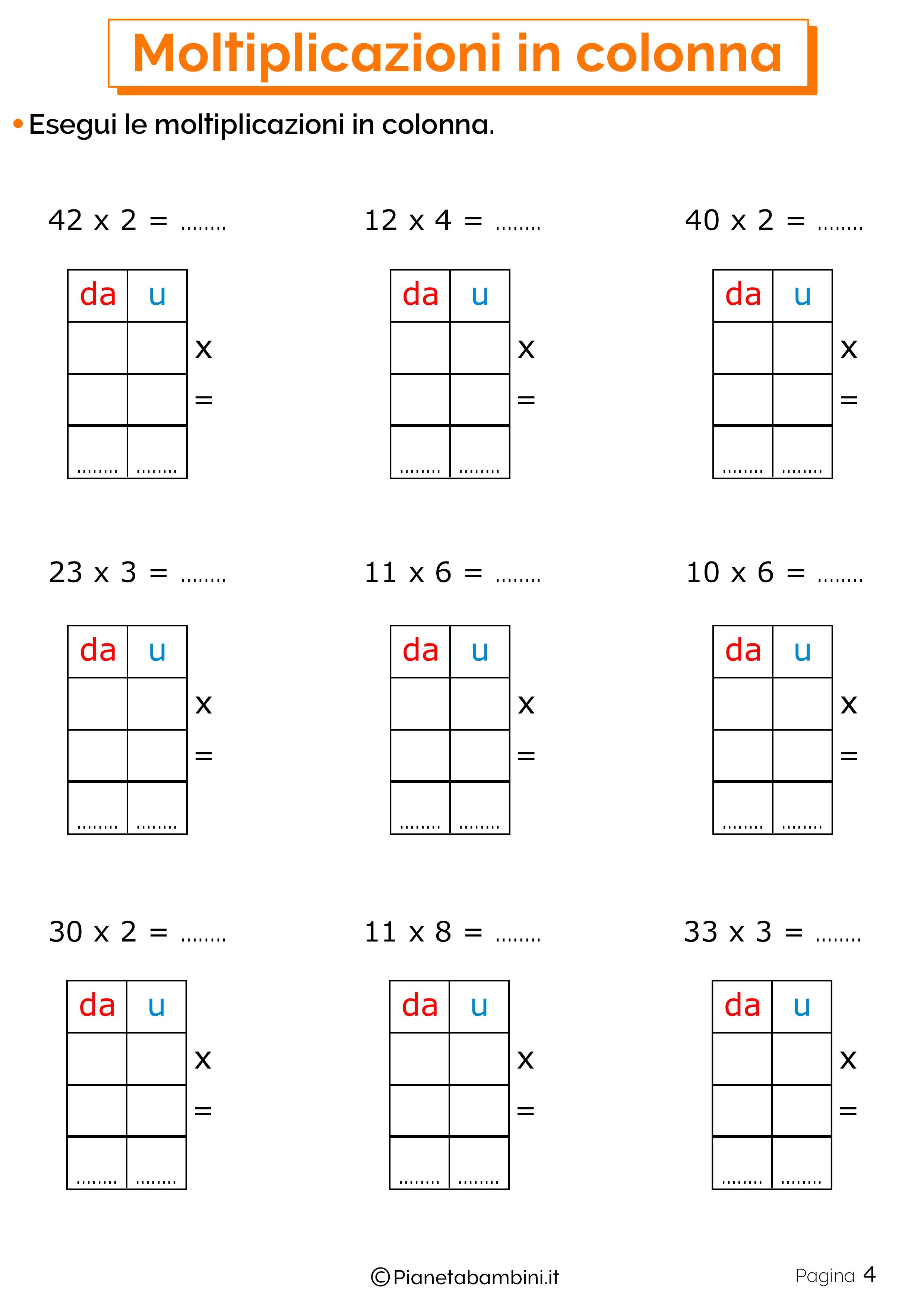 Schede didattiche sulle moltiplicazioni in colonna 4