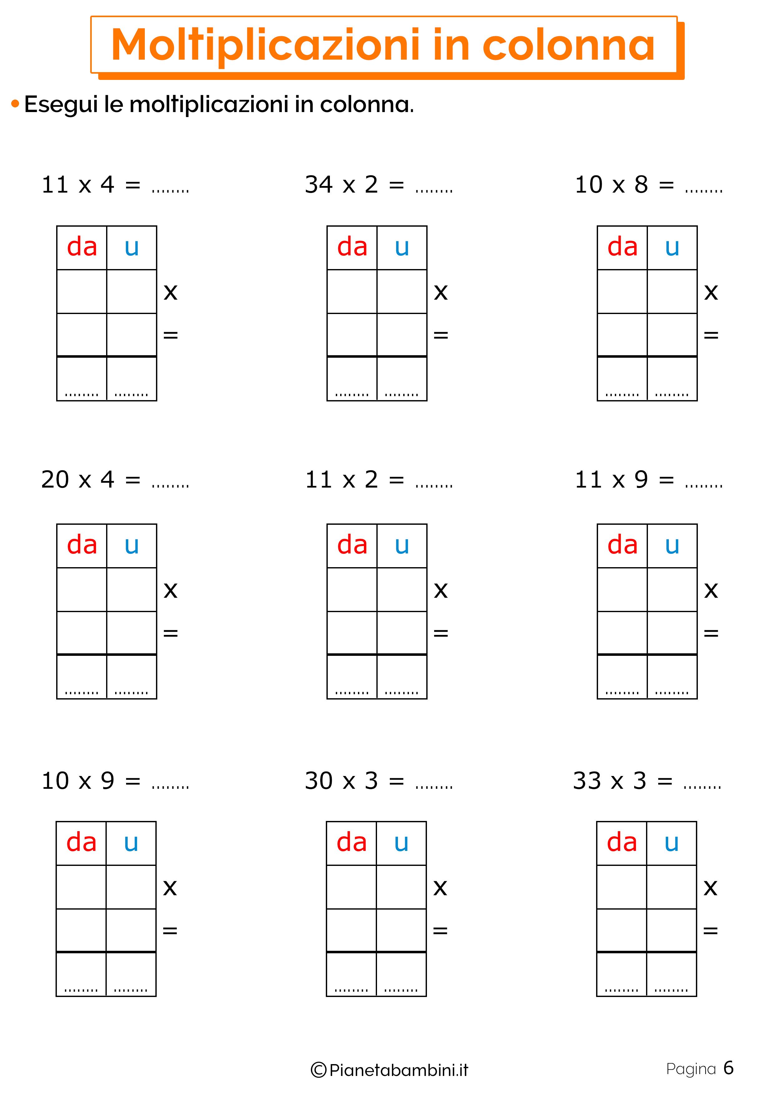 Schede didattiche sulle moltiplicazioni in colonna 6