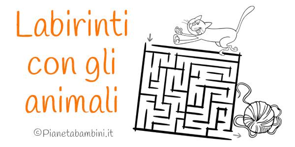 Labirinti con gli animali da stampare per bambini
