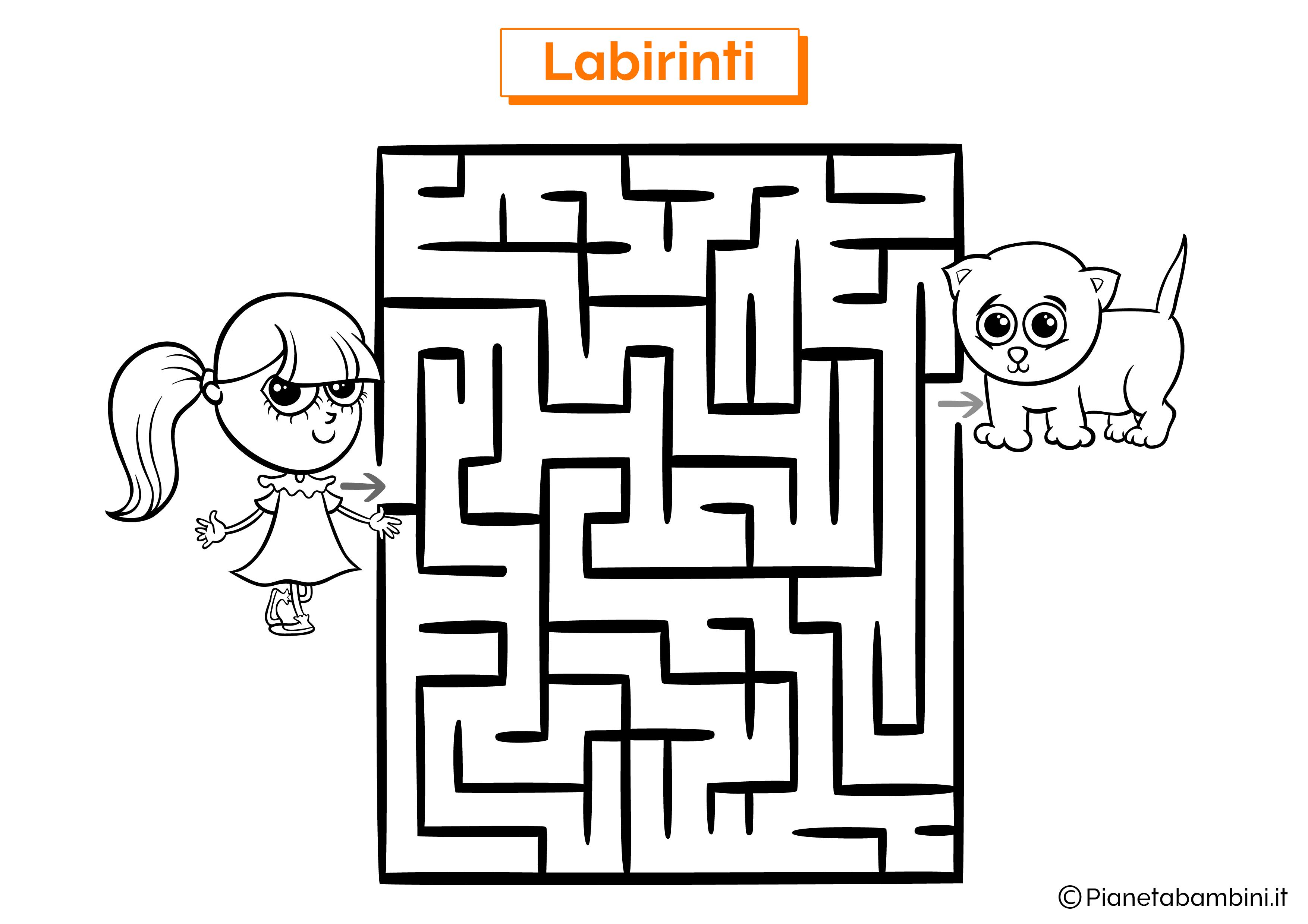 Labirinto con gatto e bambina da stampare