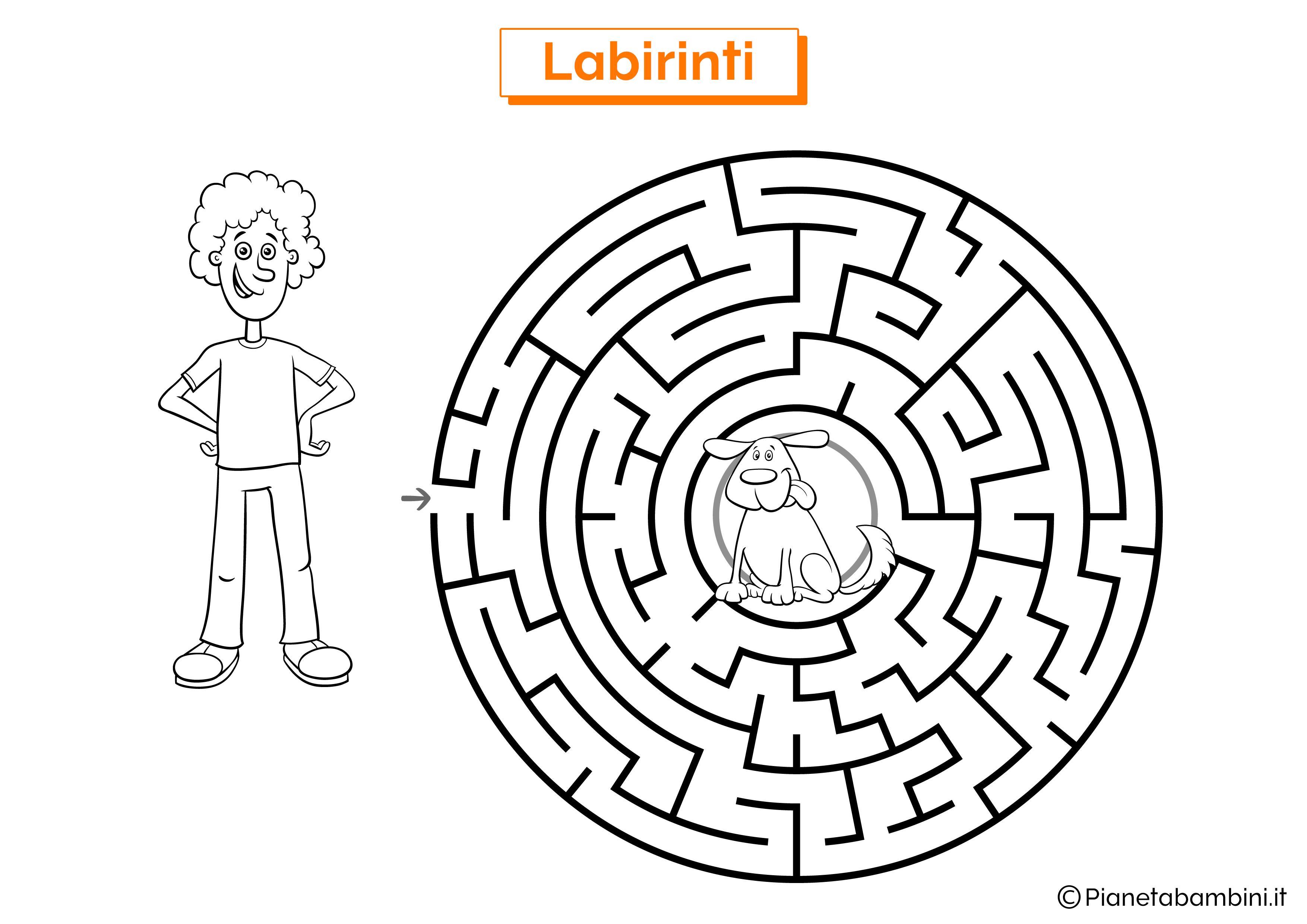 Labirinto con cane e ragazzo da stampare