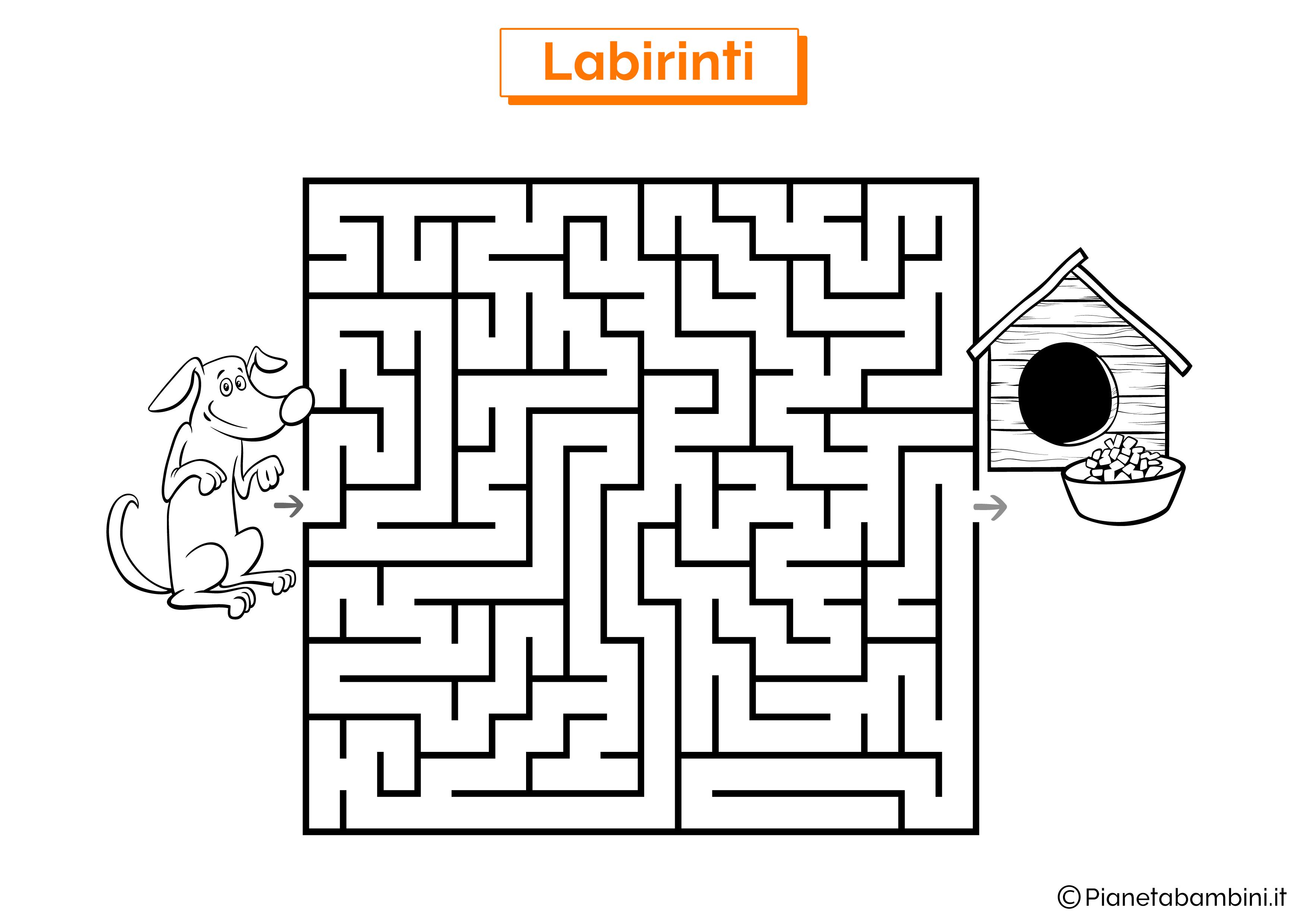 Labirinto con cane e cuccia da stampare