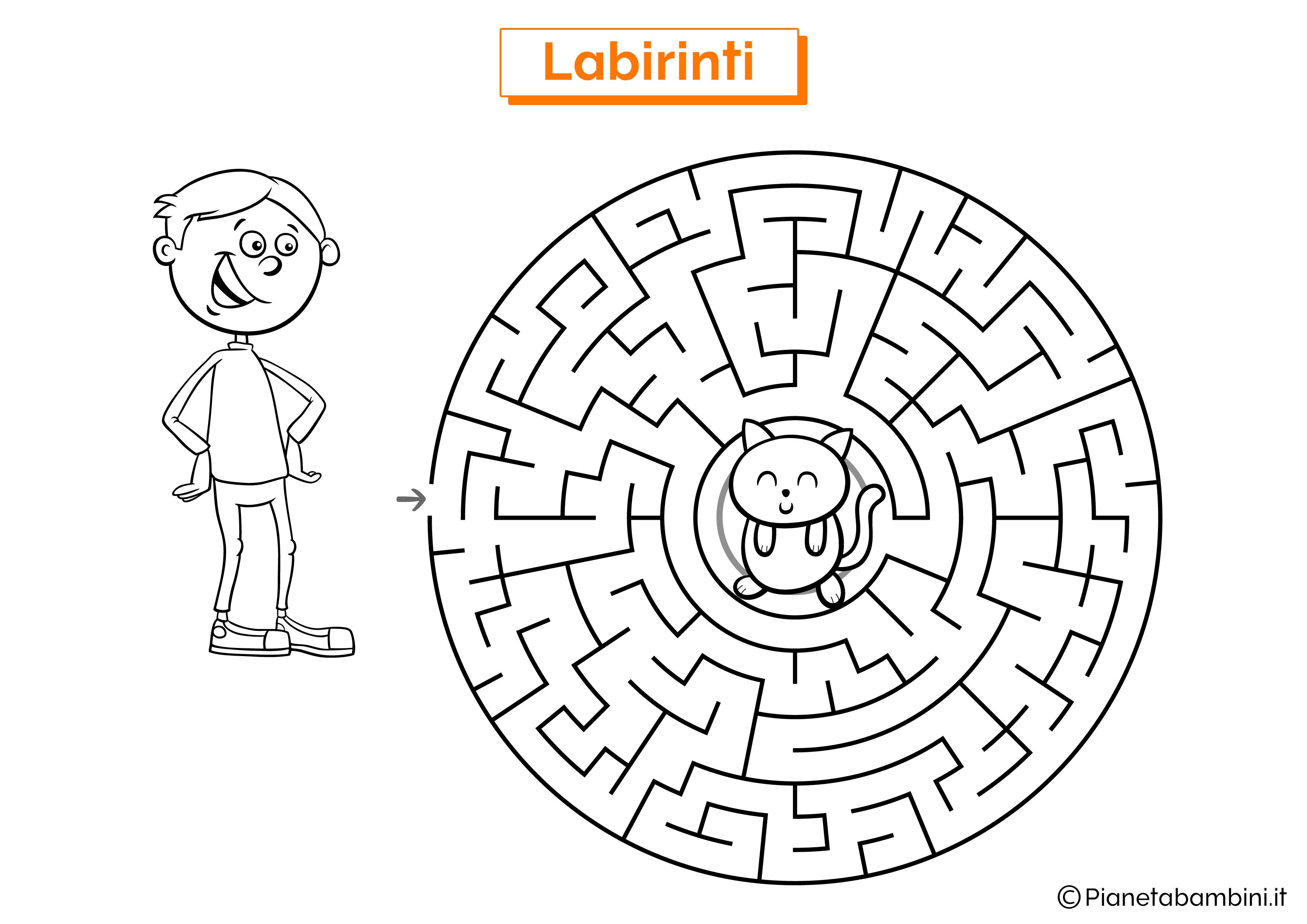Labirinto con gatto e ragazzo da stampare