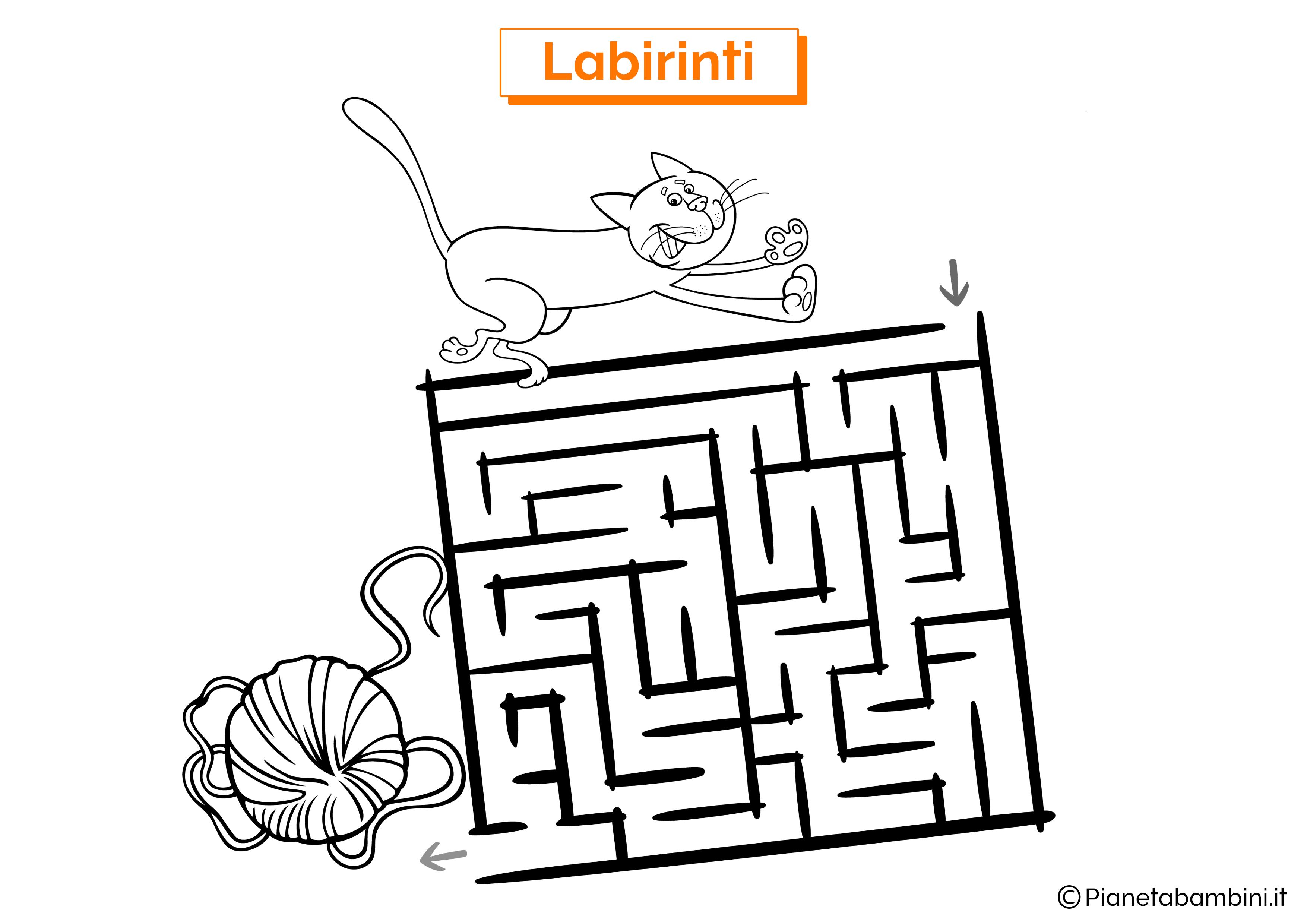 Labirinto con gatto e gomitolo da stampare