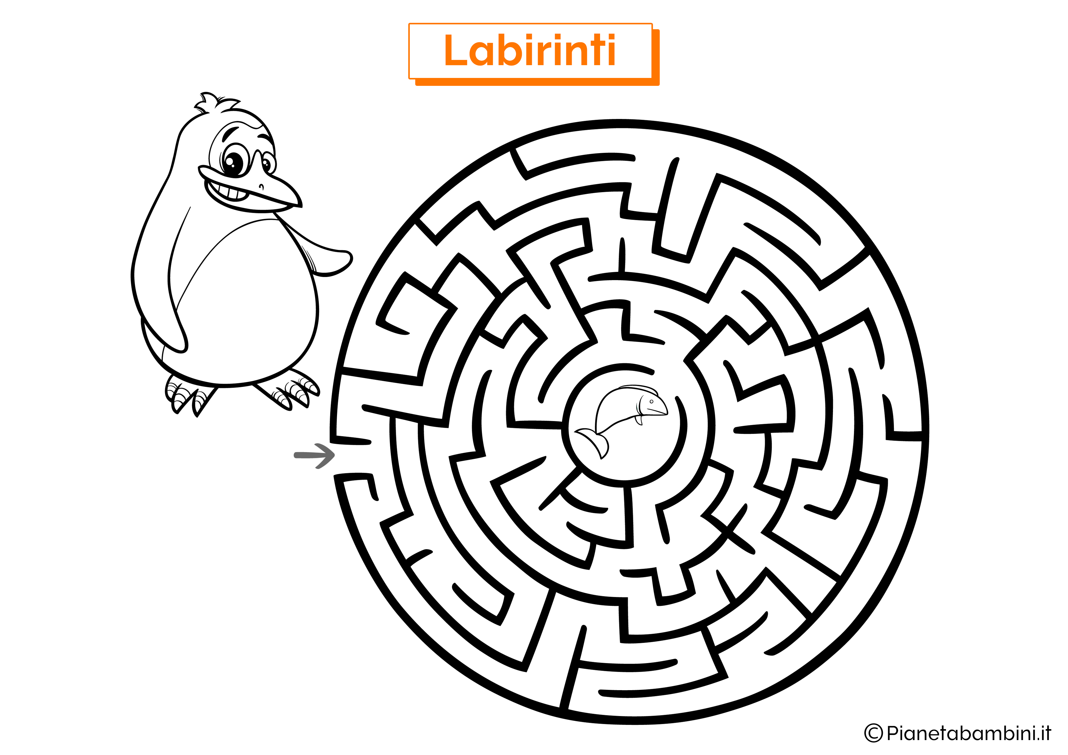 Labirinto con pinguino e pesce da stampare