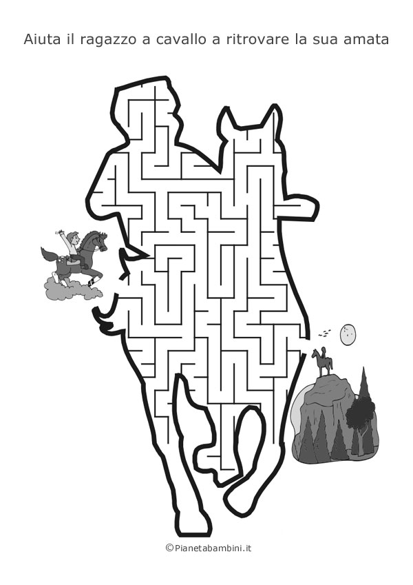 Labirinto a forma di ragazzo a cavallo