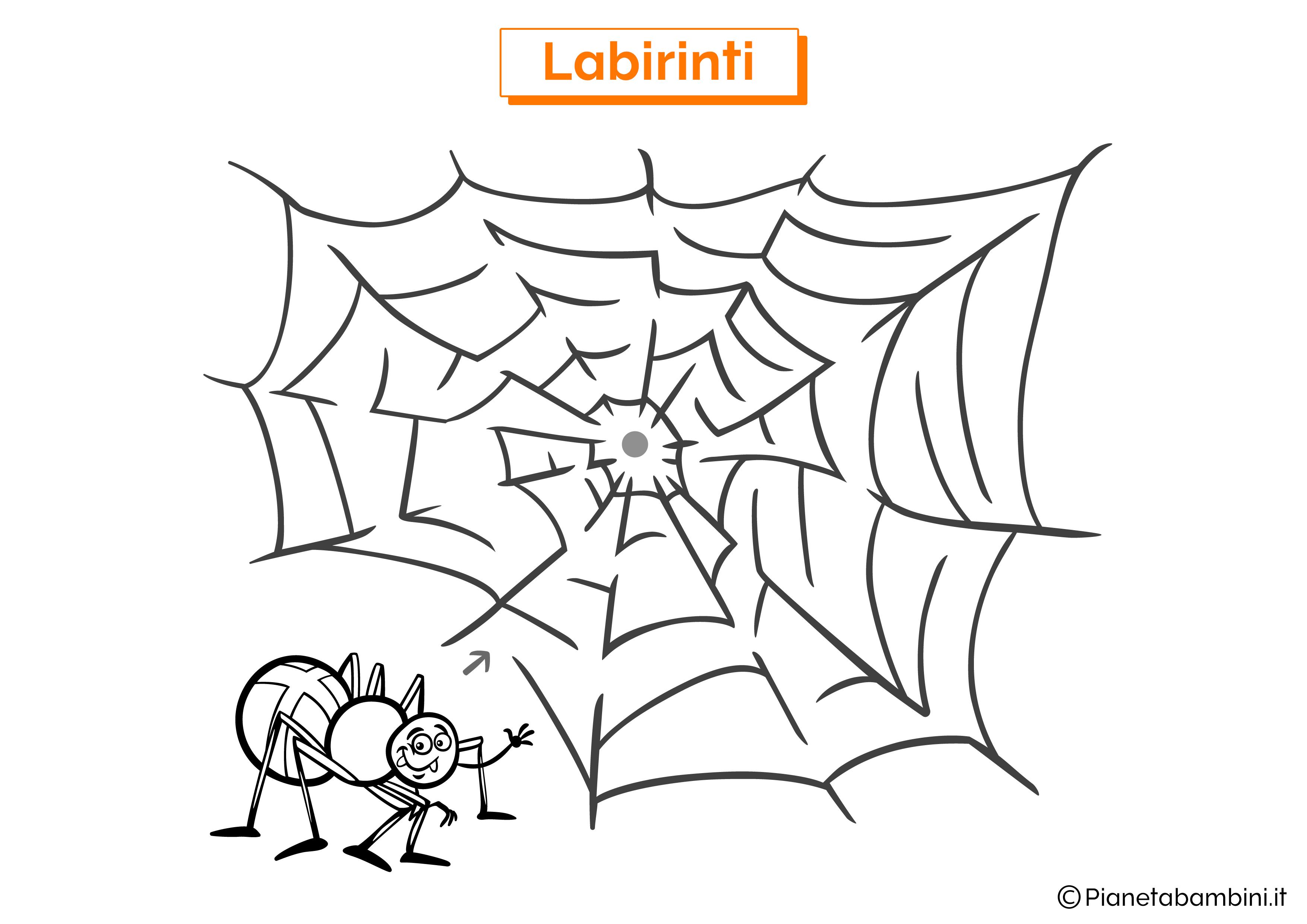 Labirinto con ragno e ragnatela da stampare