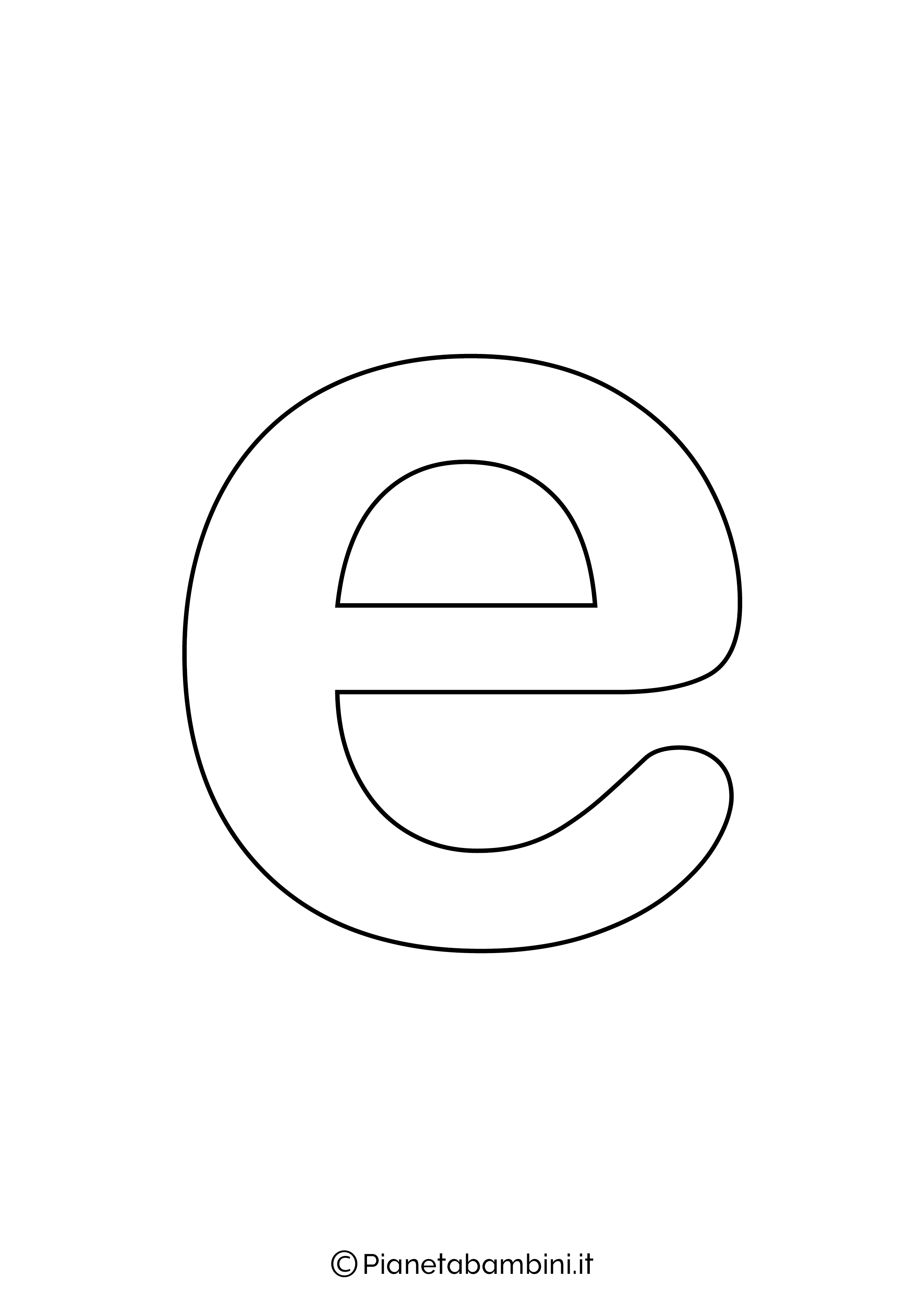 Lettera E minuscola da stampare