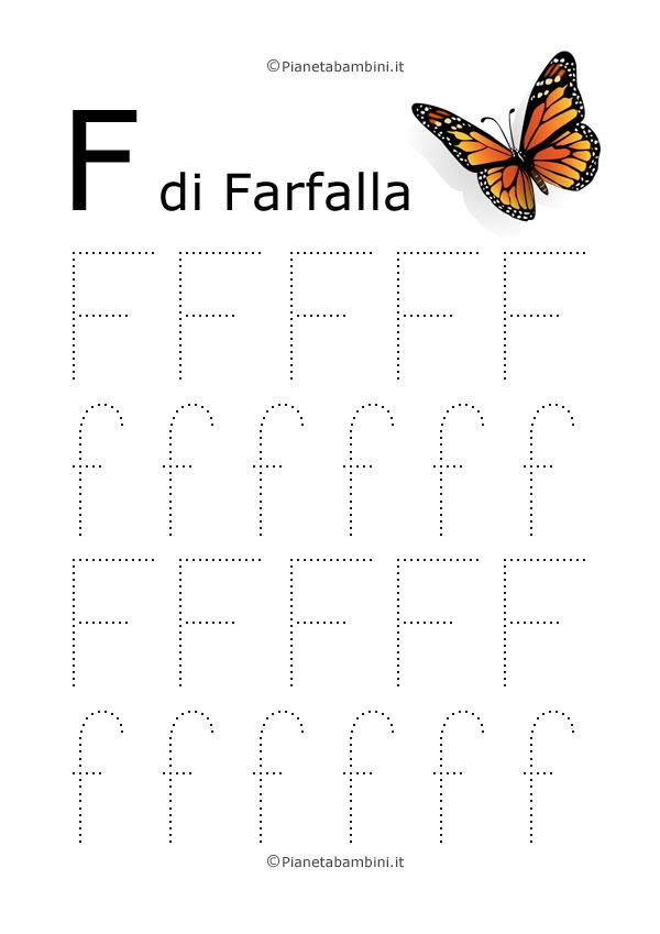 Scheda di pregrafismo lettera F grande in stampatello