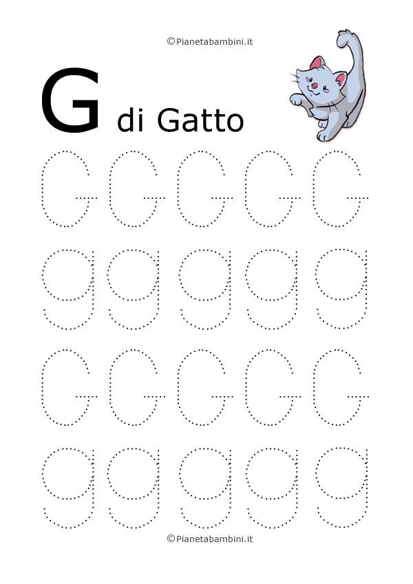 Scheda di pregrafismo lettera G grande in stampatello