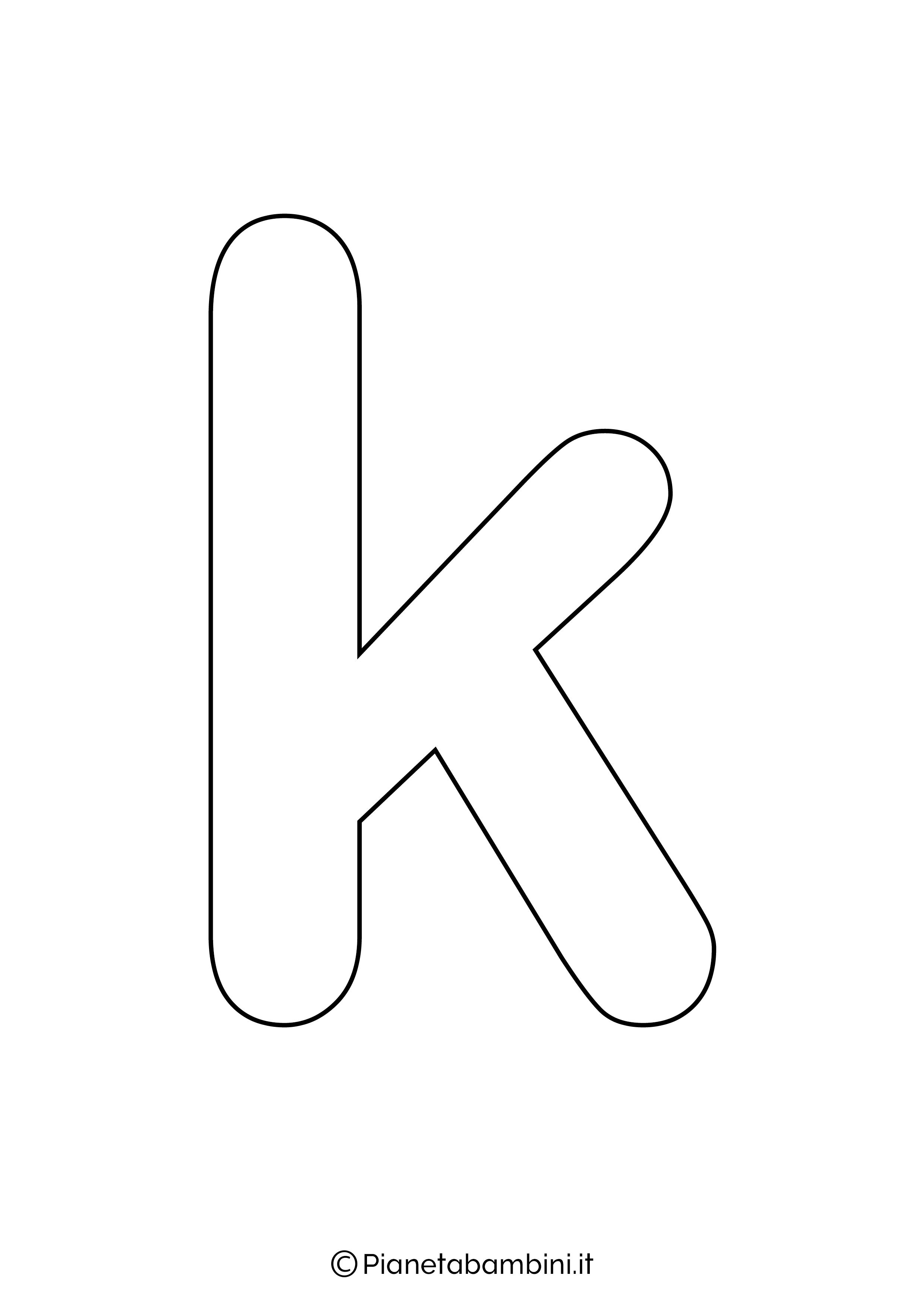 Lettera K minuscola da stampare